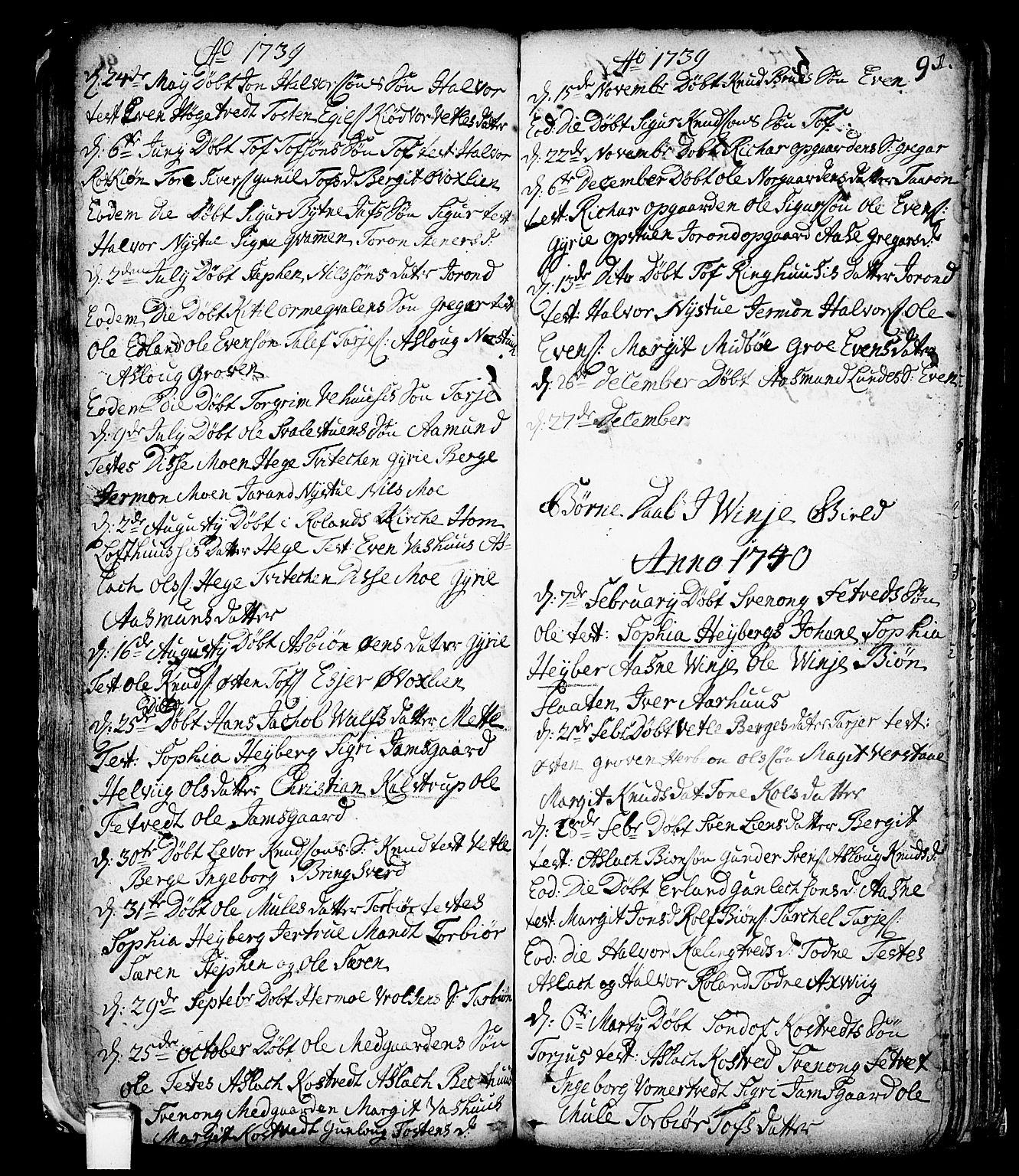 SAKO, Vinje kirkebøker, F/Fa/L0001: Ministerialbok nr. I 1, 1717-1766, s. 91