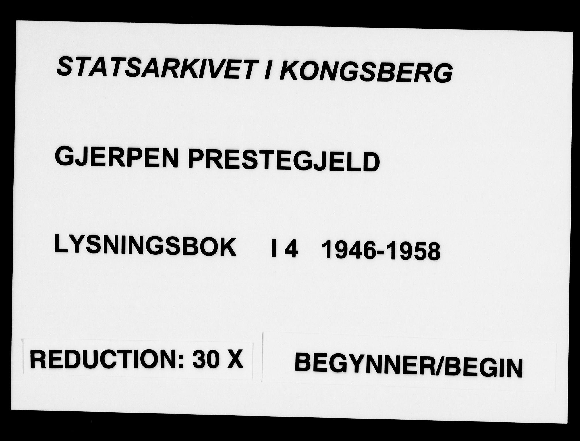 SAKO, Gjerpen kirkebøker, H/Ha/L0004: Lysningsprotokoll nr. I 4, 1946-1958