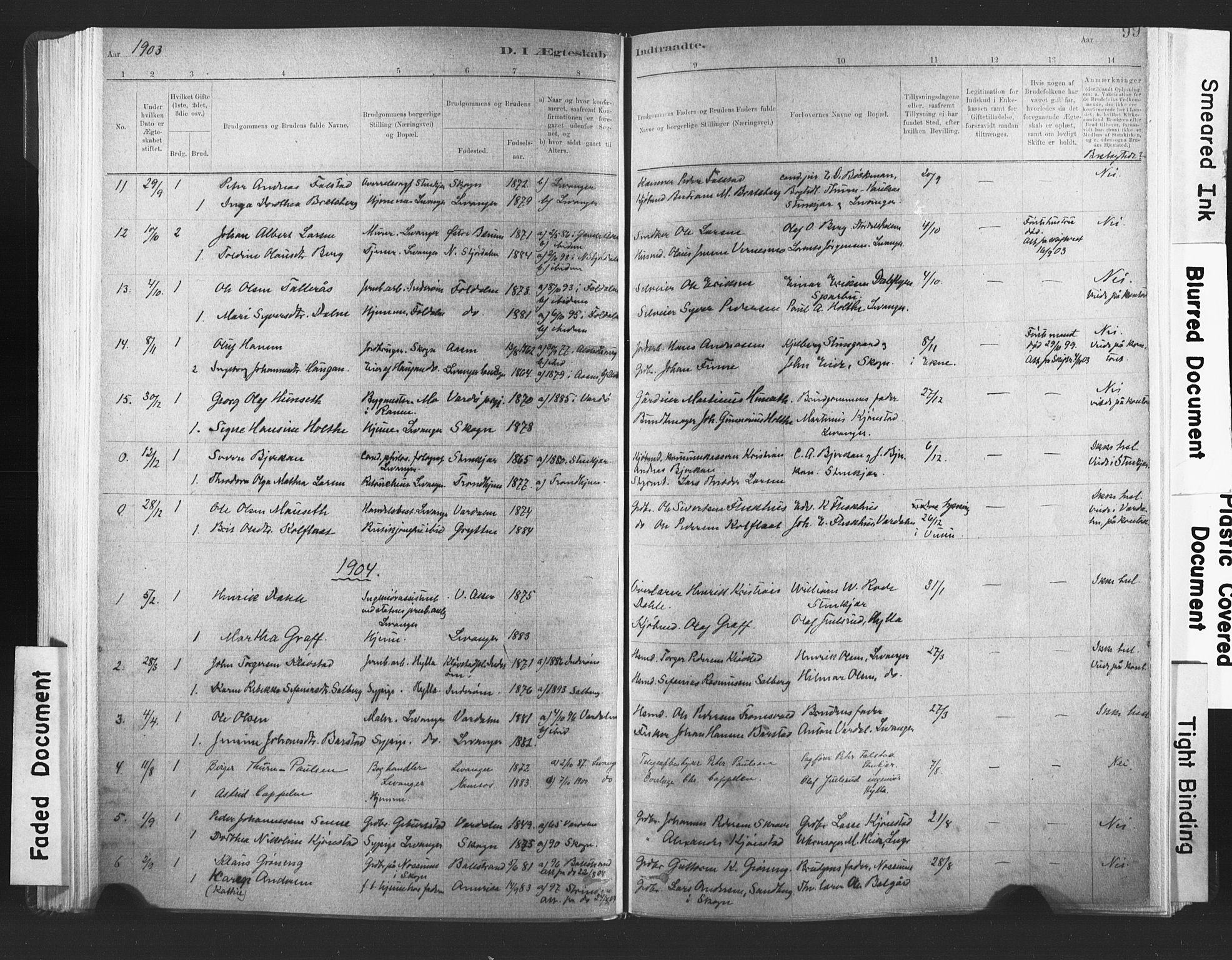 SAT, Ministerialprotokoller, klokkerbøker og fødselsregistre - Nord-Trøndelag, 720/L0189: Ministerialbok nr. 720A05, 1880-1911, s. 99