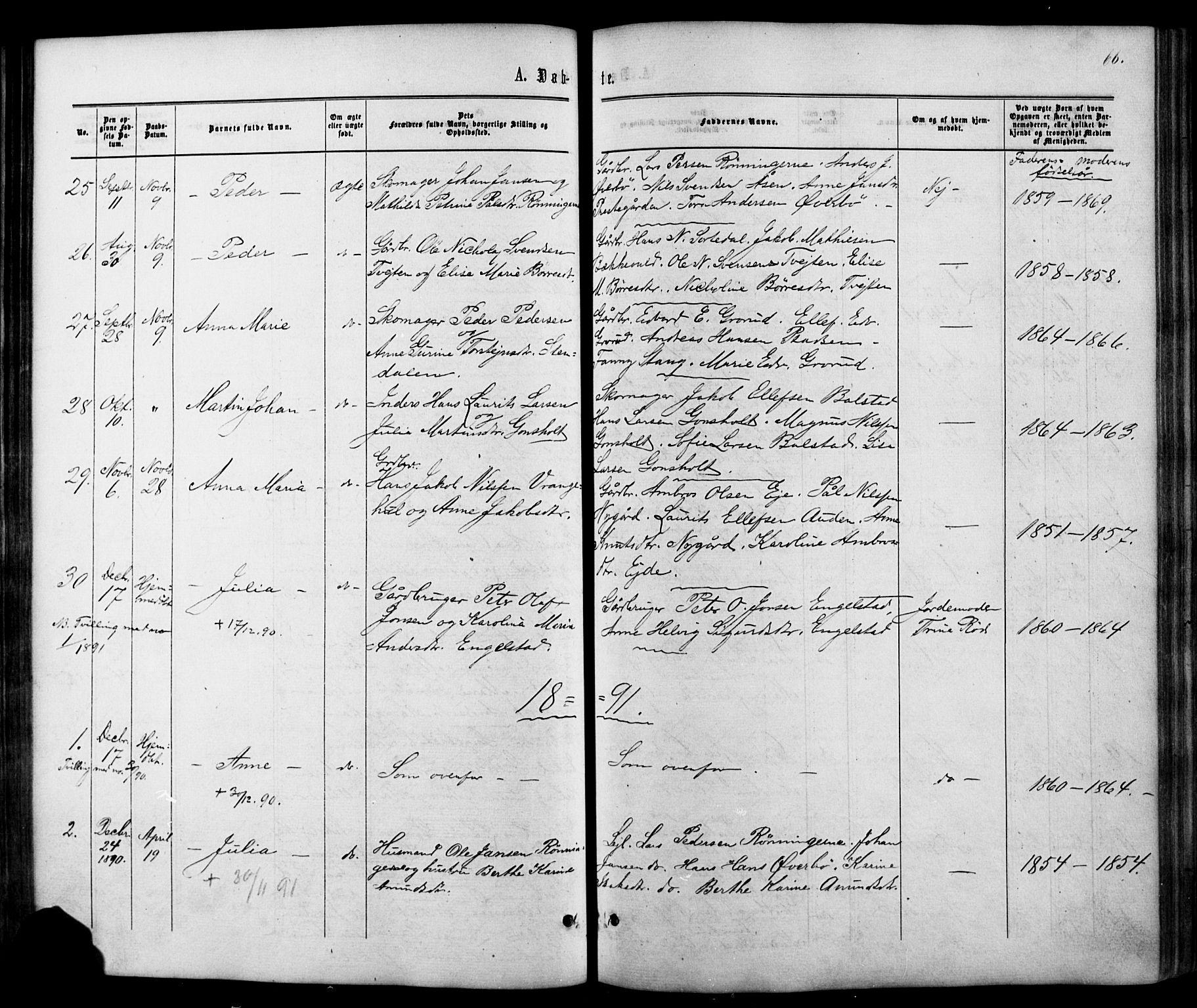 SAKO, Siljan kirkebøker, G/Ga/L0002: Klokkerbok nr. 2, 1864-1908, s. 66