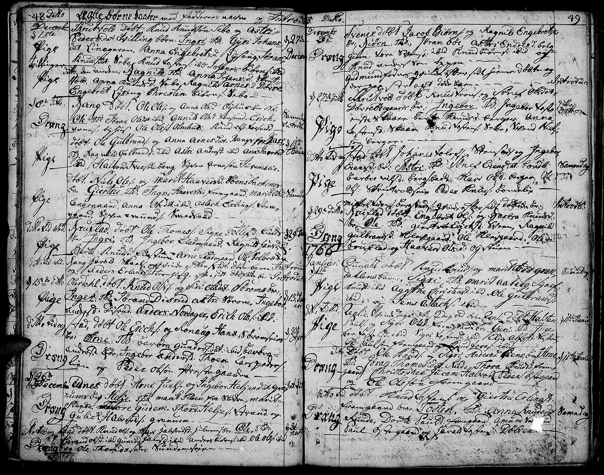 SAH, Aurdal prestekontor, Ministerialbok nr. 5, 1763-1781, s. 48-49