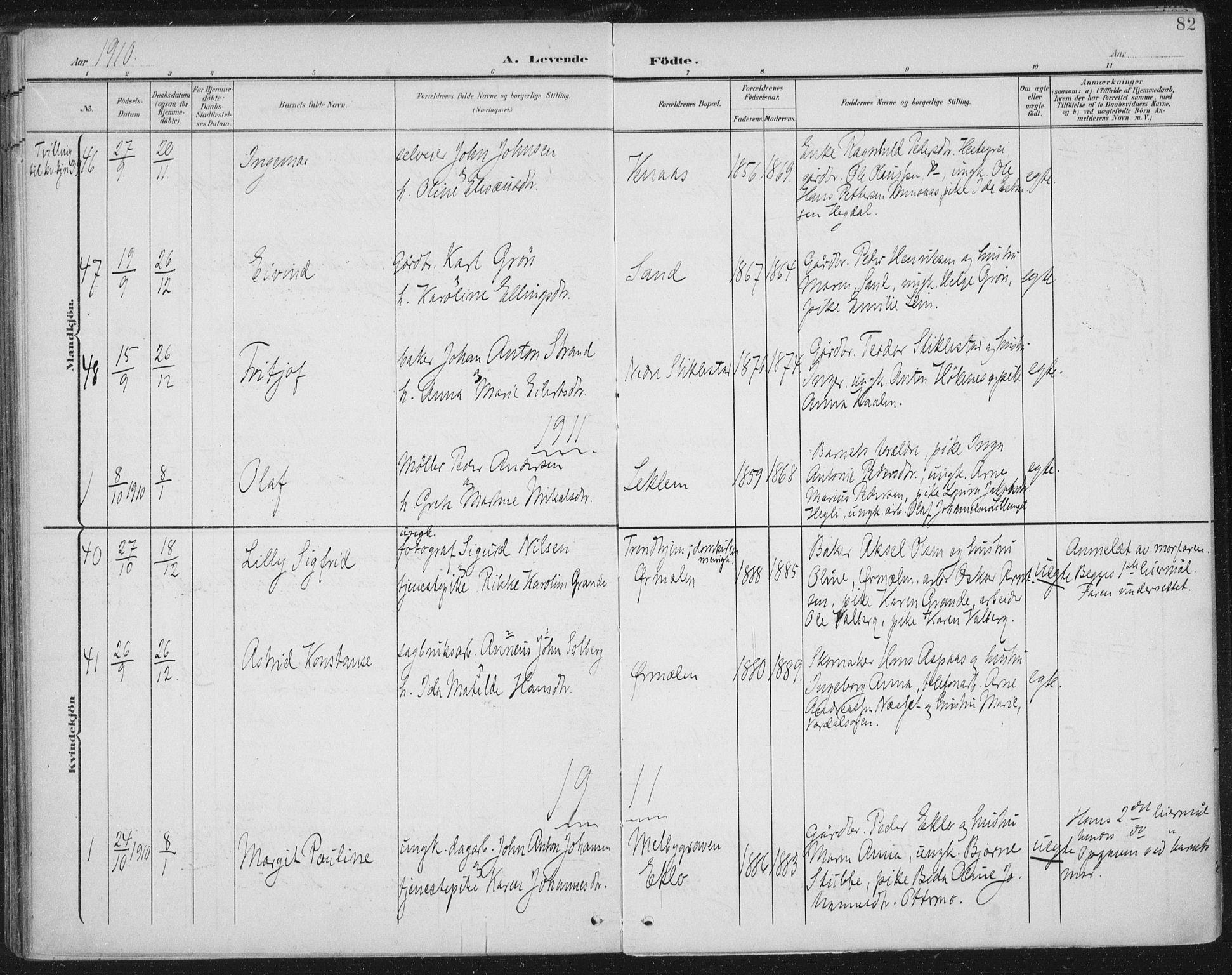 SAT, Ministerialprotokoller, klokkerbøker og fødselsregistre - Nord-Trøndelag, 723/L0246: Ministerialbok nr. 723A15, 1900-1917, s. 82