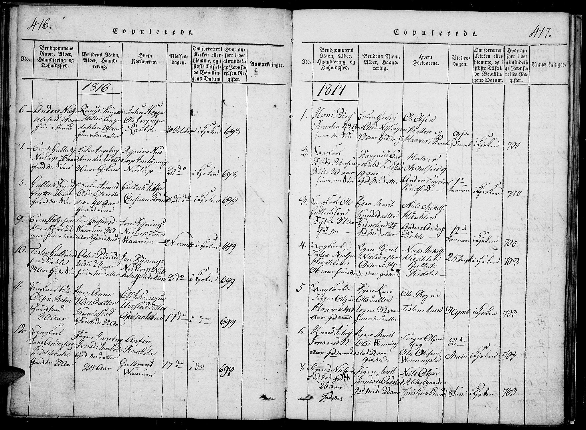 SAH, Slidre prestekontor, Klokkerbok nr. 2, 1814-1839, s. 416-417