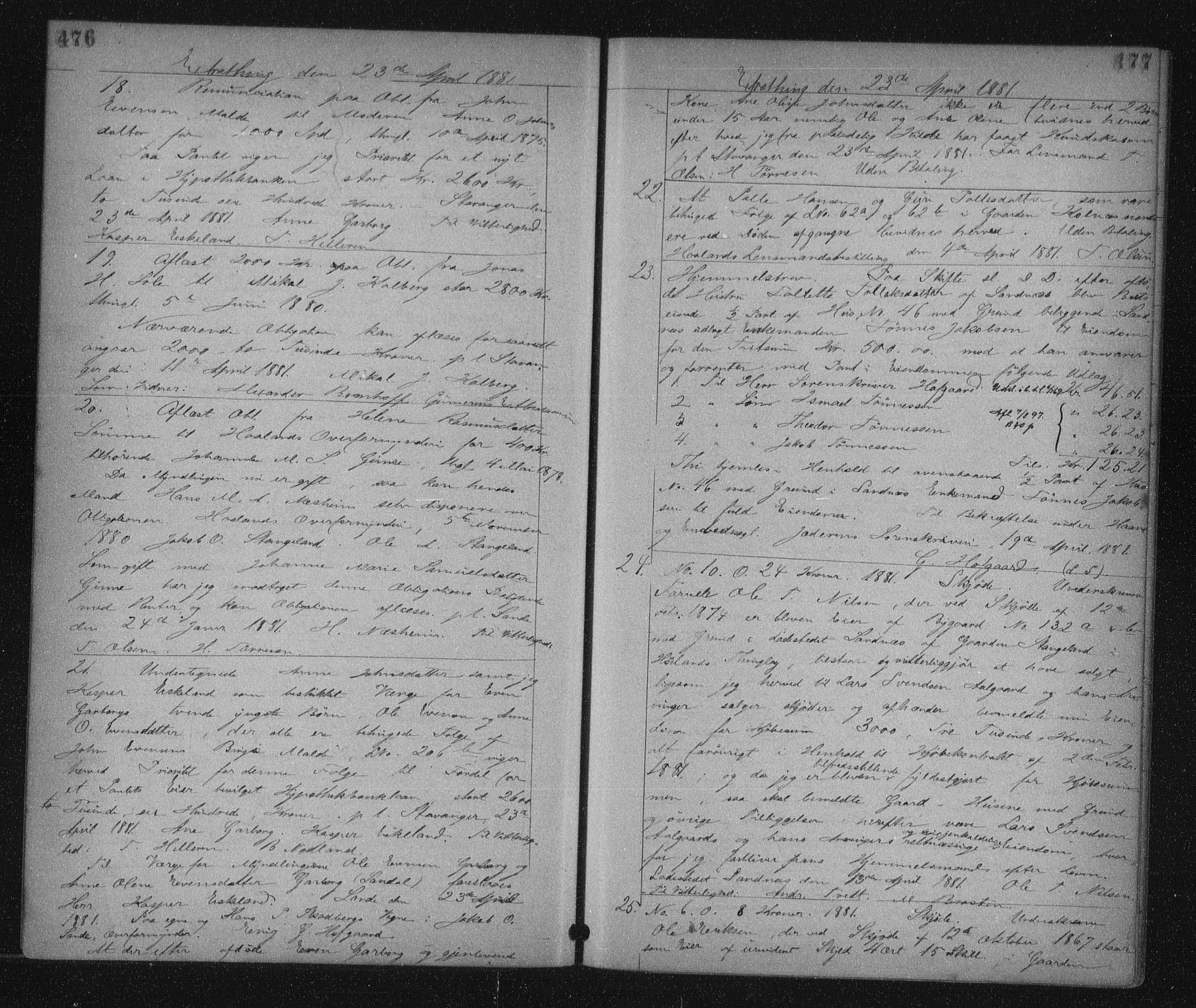 SAST, Jæren sorenskriveri, 4/41/41BF/L0007: Pantebok nr. 14, 1880-1882, s. 476-477