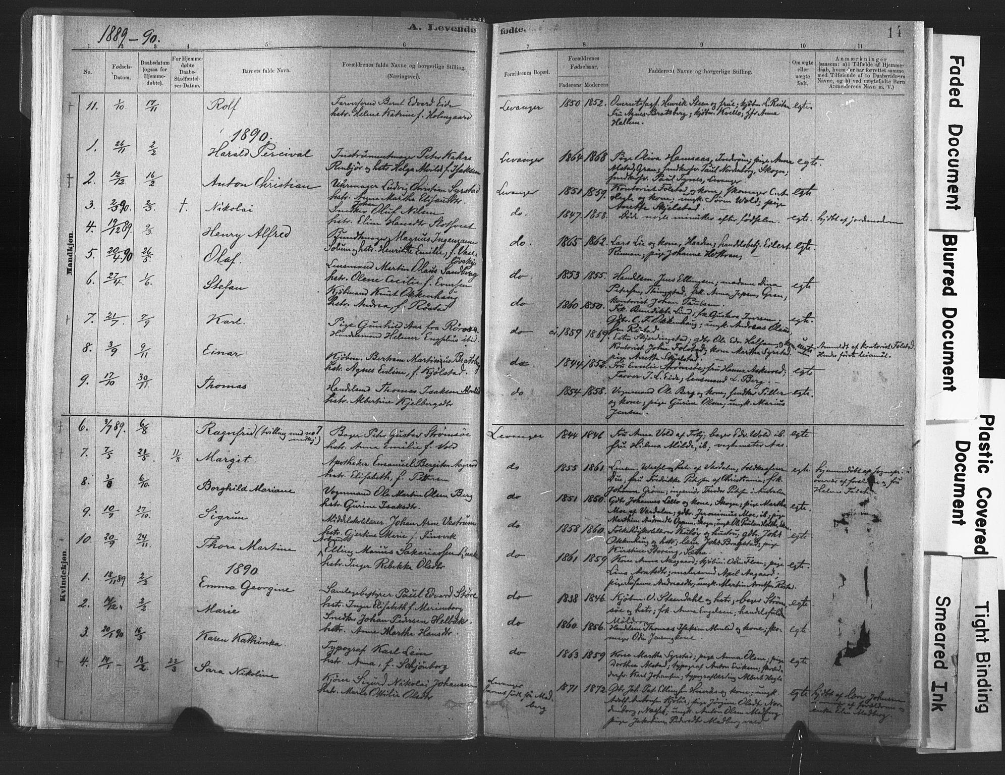 SAT, Ministerialprotokoller, klokkerbøker og fødselsregistre - Nord-Trøndelag, 720/L0189: Ministerialbok nr. 720A05, 1880-1911, s. 14