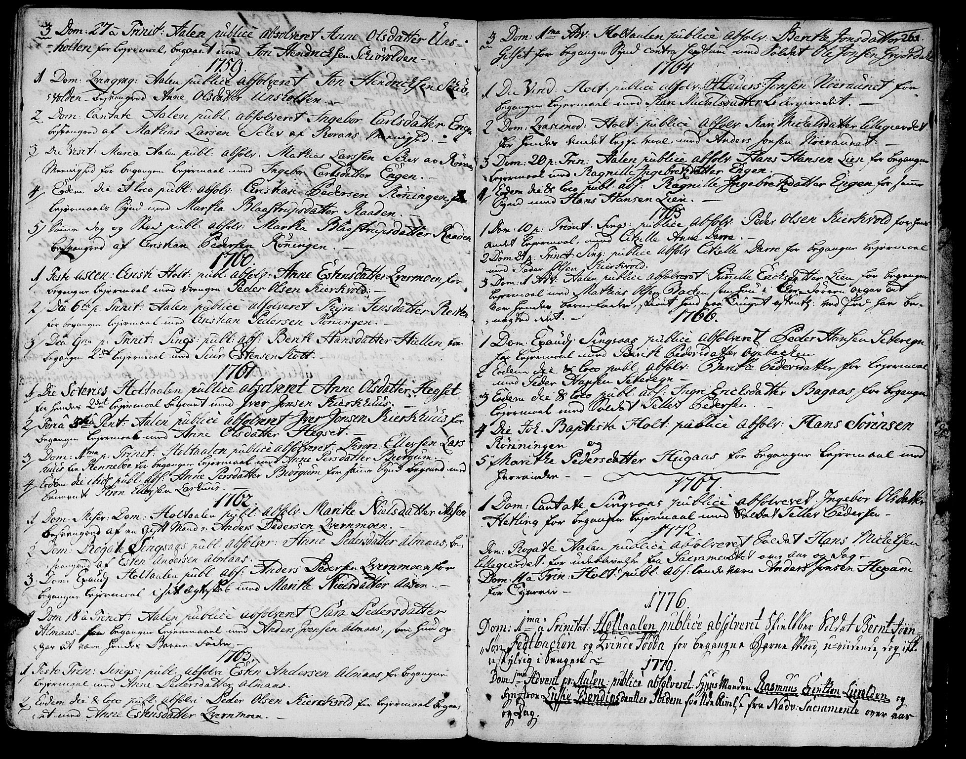 SAT, Ministerialprotokoller, klokkerbøker og fødselsregistre - Sør-Trøndelag, 685/L0952: Ministerialbok nr. 685A01, 1745-1804, s. 261