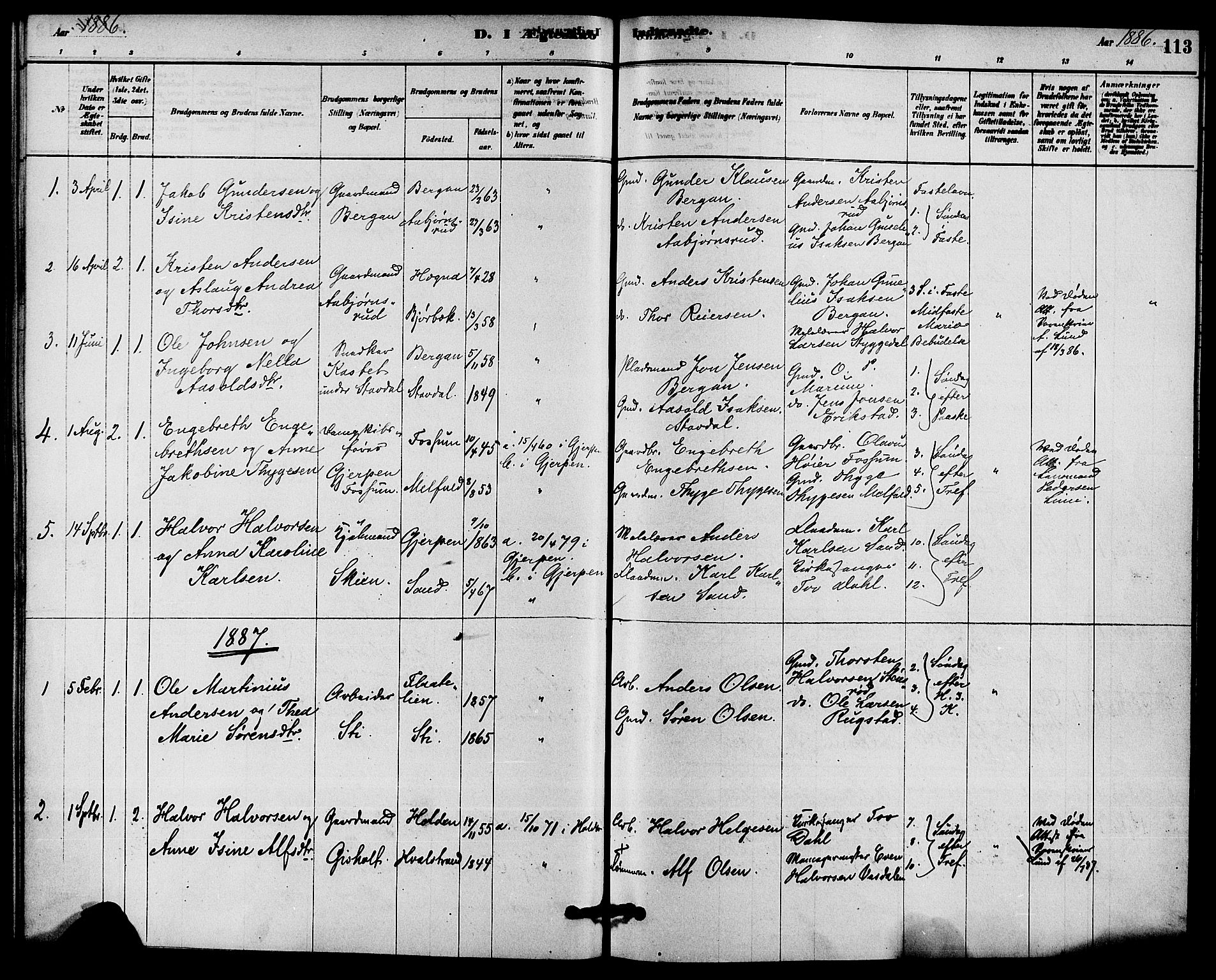 SAKO, Solum kirkebøker, F/Fb/L0001: Ministerialbok nr. II 1, 1877-1892, s. 113