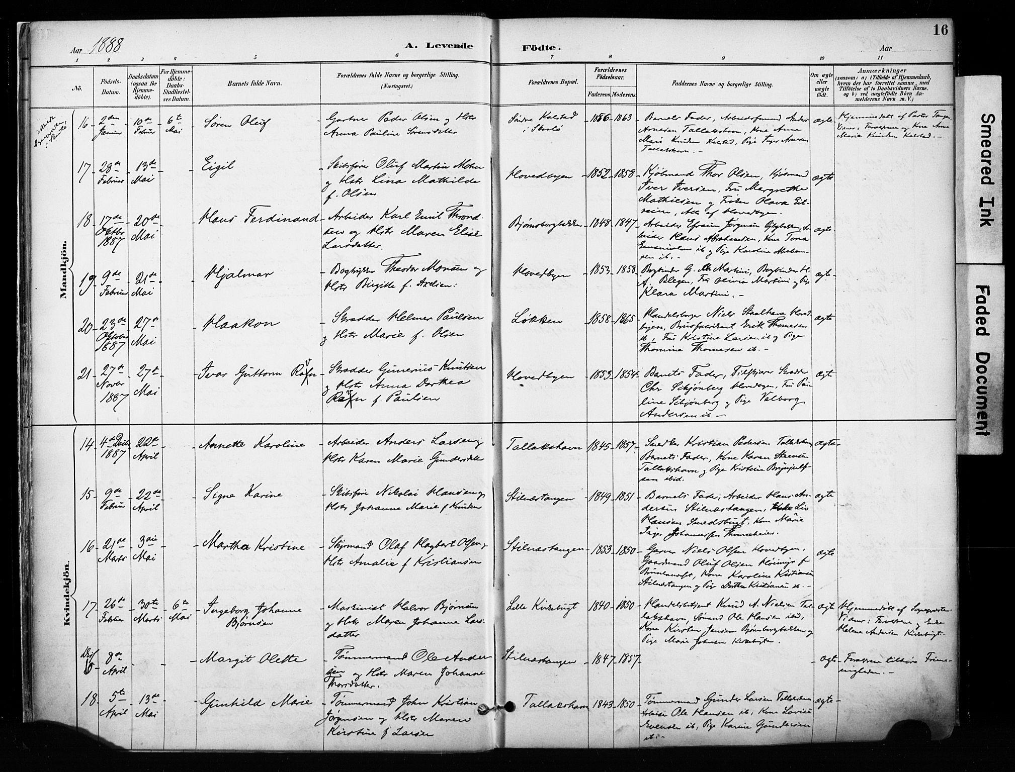 SAKO, Kragerø kirkebøker, F/Fa/L0013: Ministerialbok nr. I 13, 1887-1915, s. 16
