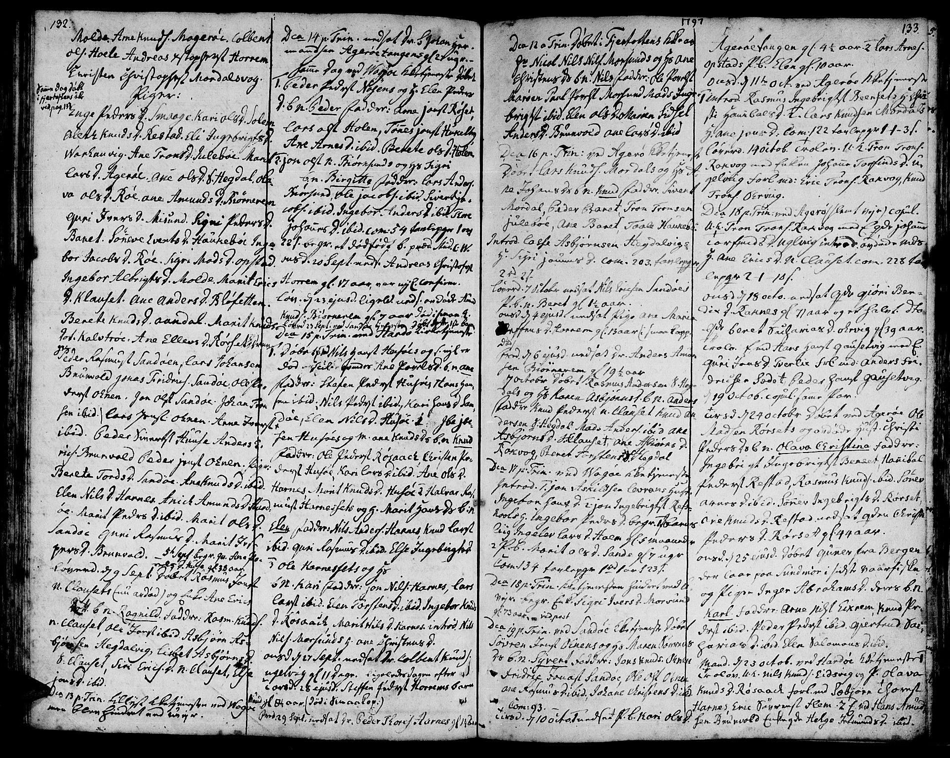 SAT, Ministerialprotokoller, klokkerbøker og fødselsregistre - Møre og Romsdal, 560/L0717: Ministerialbok nr. 560A01, 1785-1808, s. 132-133