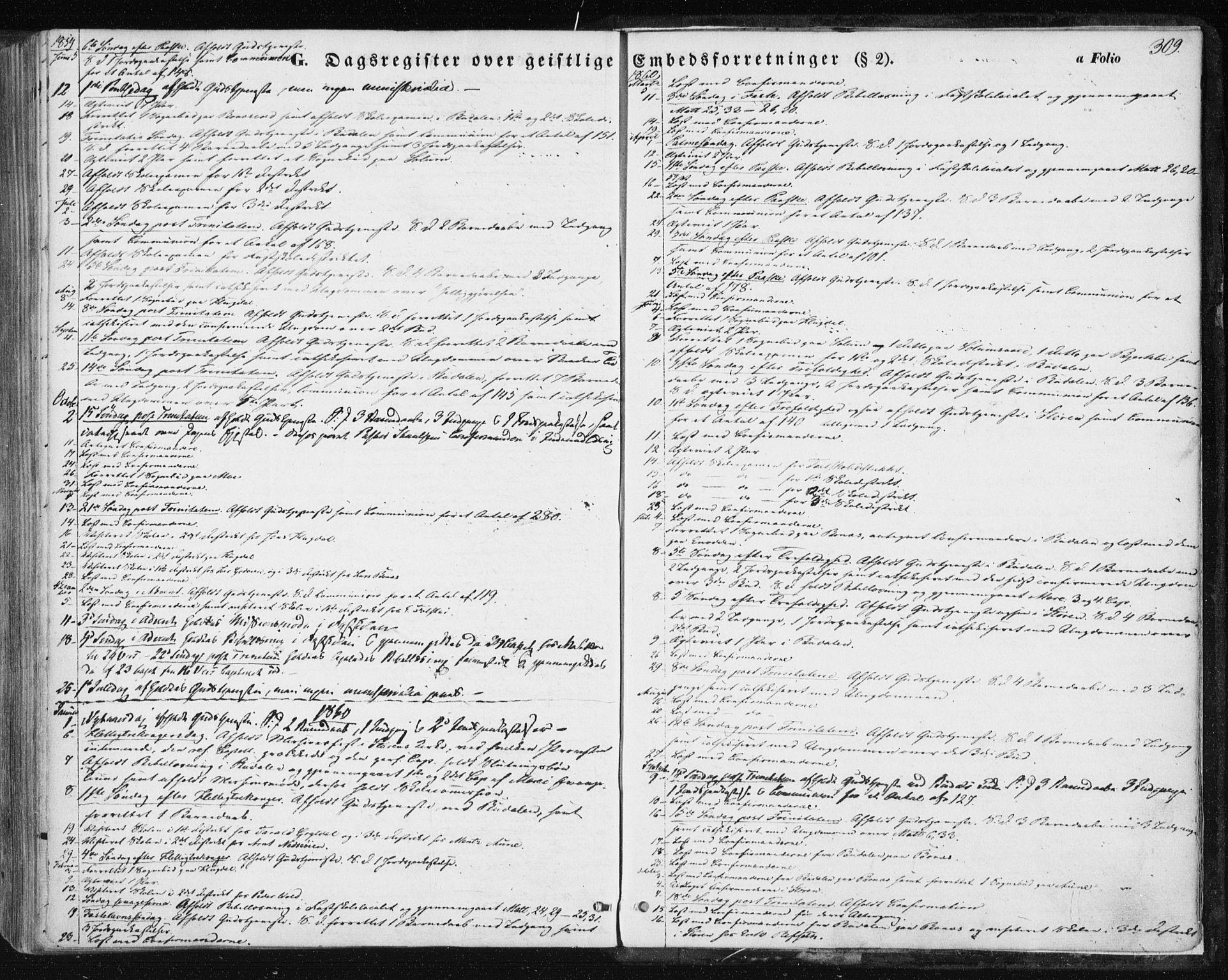 SAT, Ministerialprotokoller, klokkerbøker og fødselsregistre - Sør-Trøndelag, 687/L1000: Ministerialbok nr. 687A06, 1848-1869, s. 309