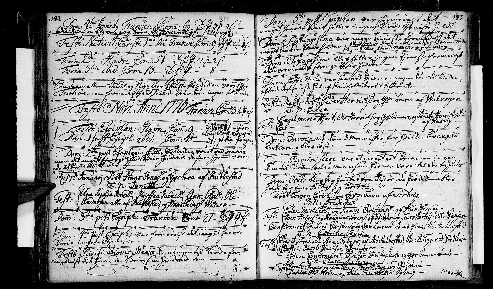 SATØ, Tranøy sokneprestkontor, I/Ia/Iaa/L0001kirke: Ministerialbok nr. 1, 1757-1773, s. 142-143