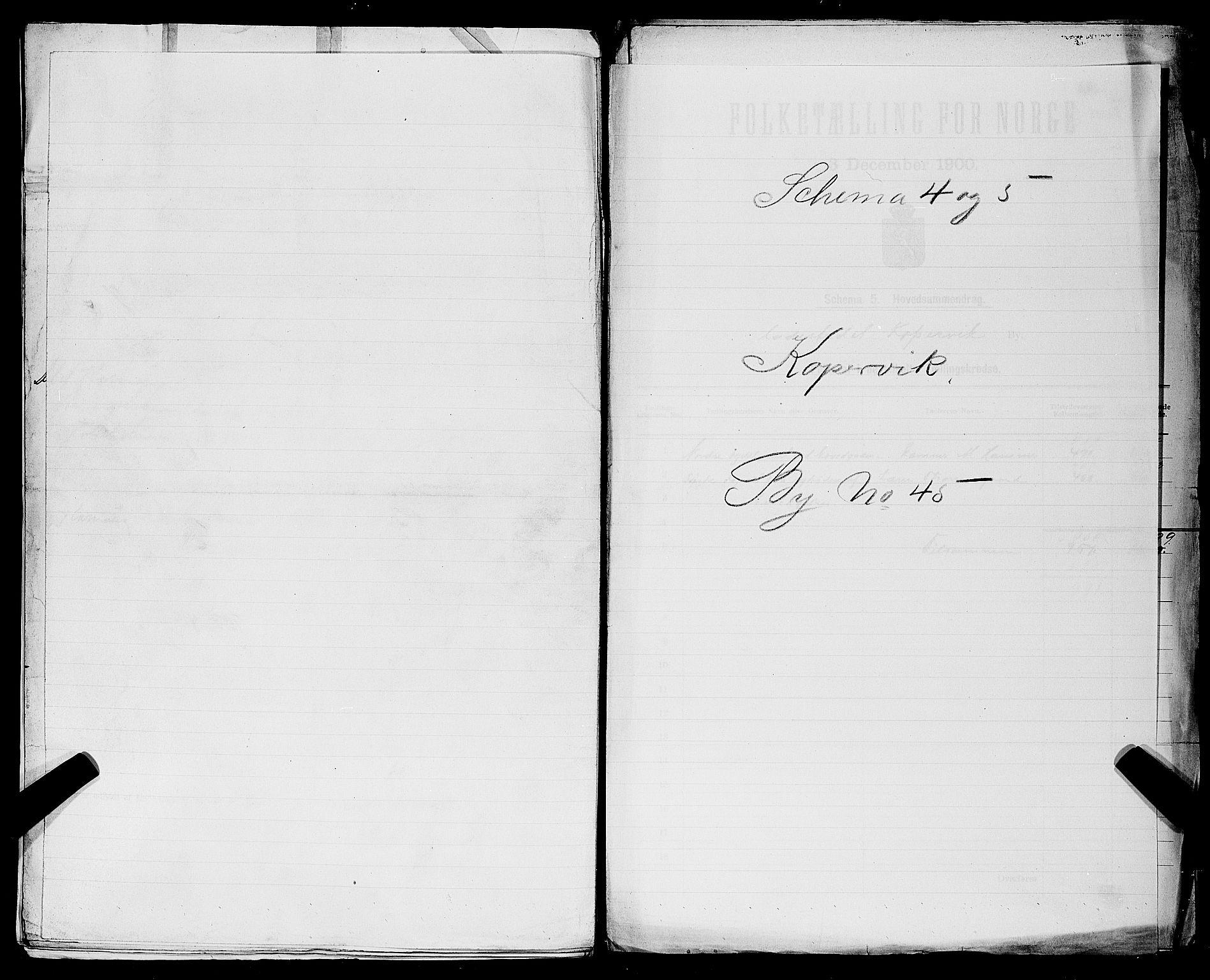 SAST, Folketelling 1900 for 1105 Kopervik ladested, 1900, s. 1