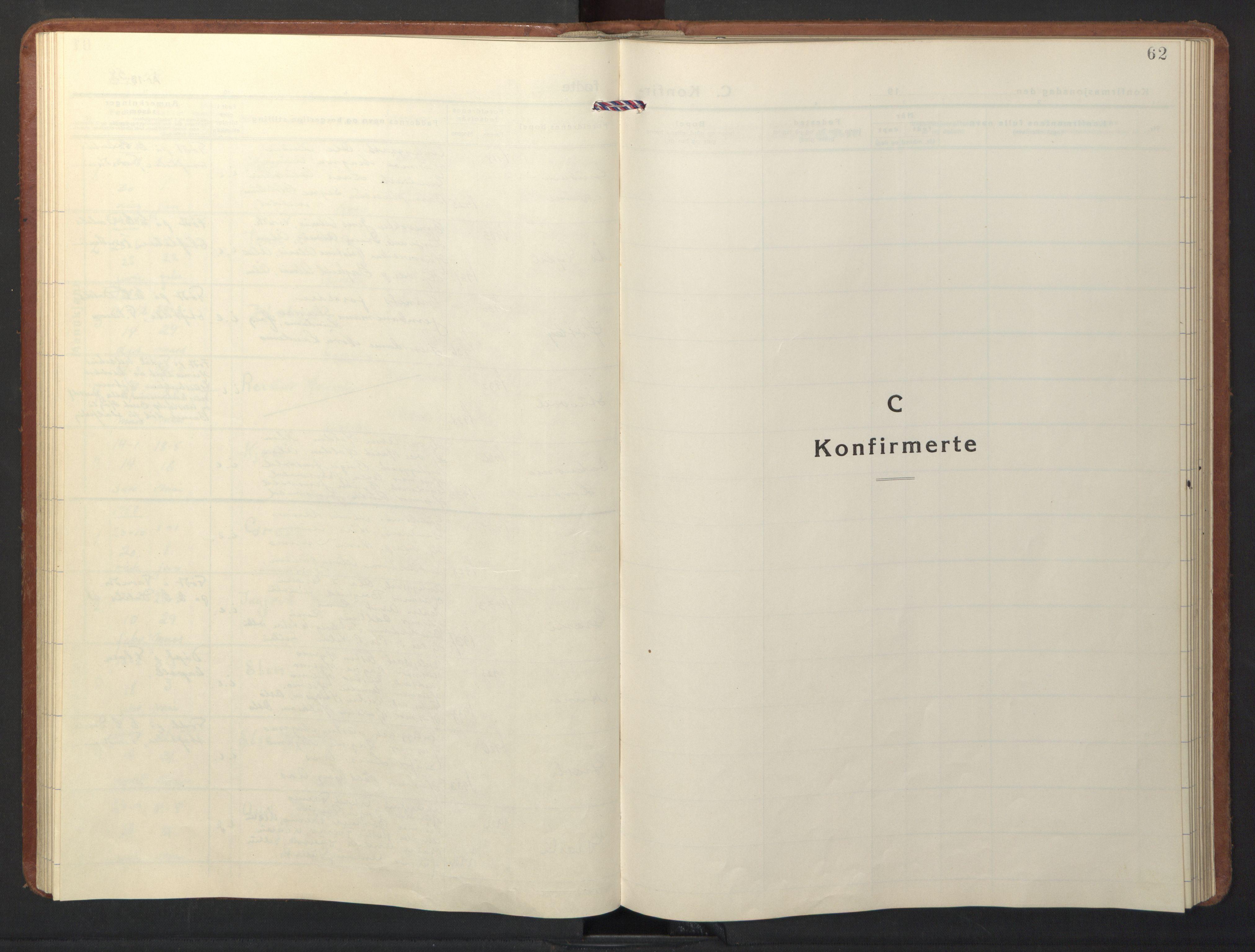SAT, Ministerialprotokoller, klokkerbøker og fødselsregistre - Sør-Trøndelag, 698/L1169: Klokkerbok nr. 698C06, 1930-1949, s. 62
