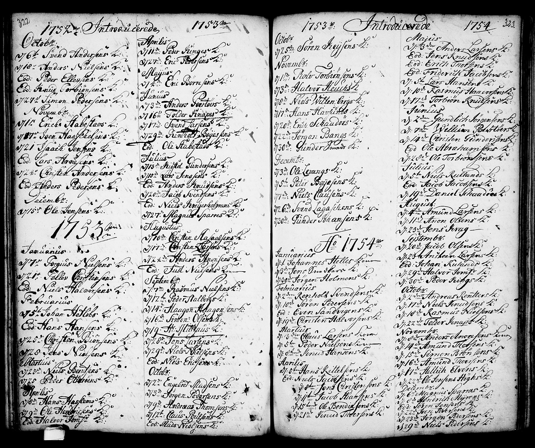 SAKO, Kragerø kirkebøker, F/Fa/L0001: Ministerialbok nr. 1, 1702-1766, s. 322-323