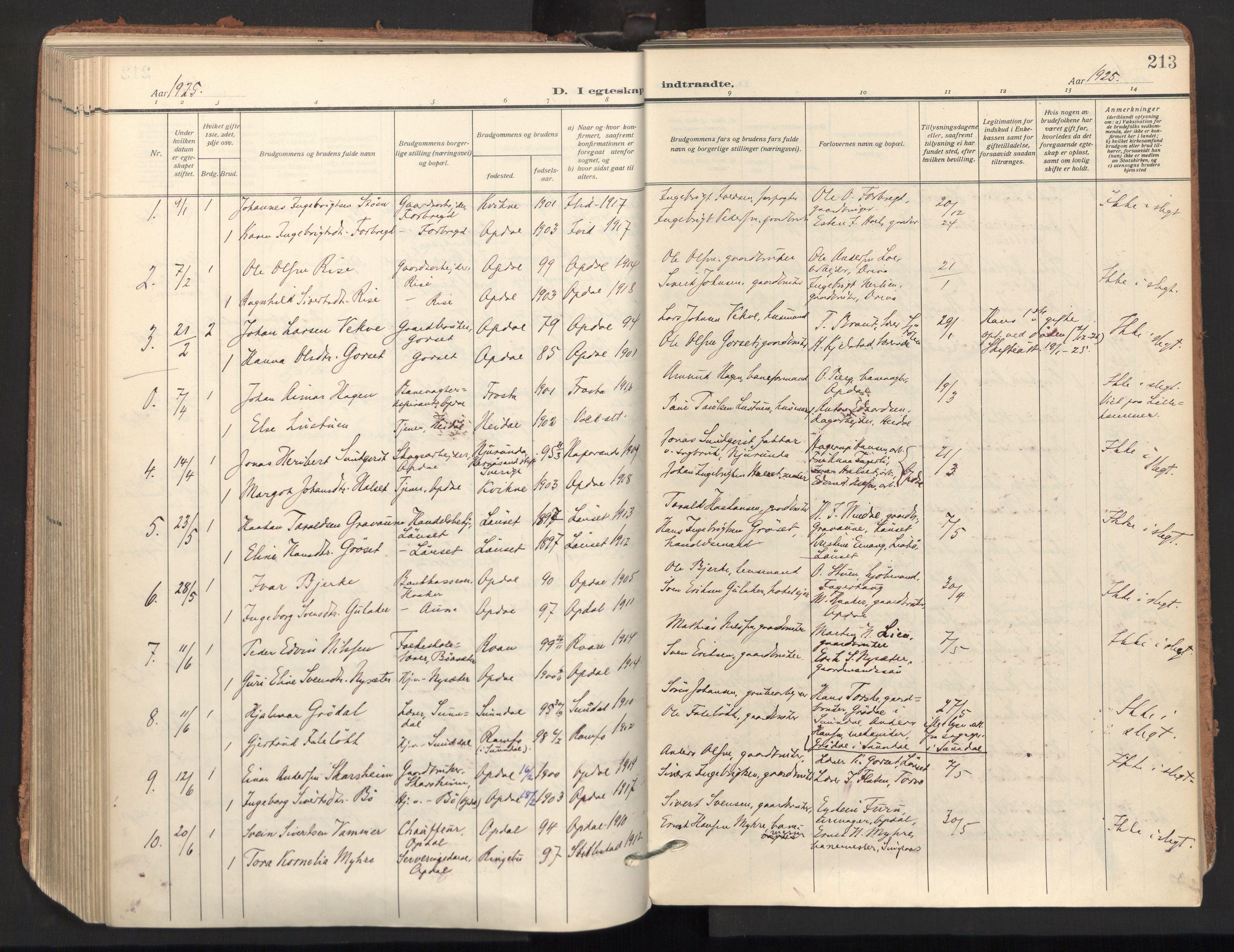 SAT, Ministerialprotokoller, klokkerbøker og fødselsregistre - Sør-Trøndelag, 678/L0909: Ministerialbok nr. 678A17, 1912-1930, s. 213