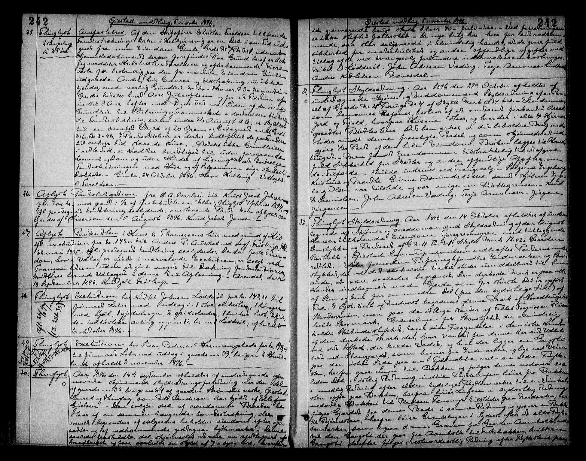 SAK, Nedenes sorenskriveri, G/Gb/Gba/L0016: Pantebok nr. 13, 1896-1899, s. 242