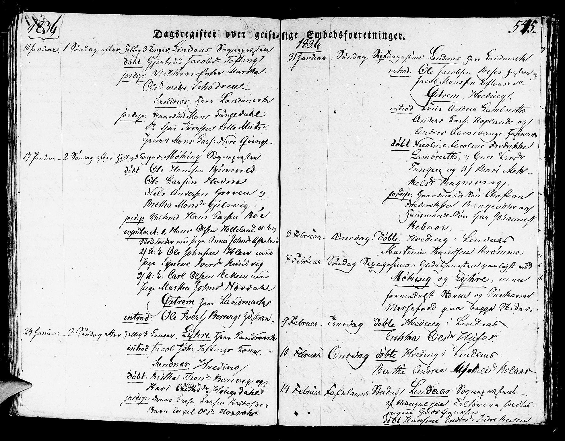 SAB, Lindås Sokneprestembete, H/Haa: Ministerialbok nr. A 8, 1823-1836, s. 545