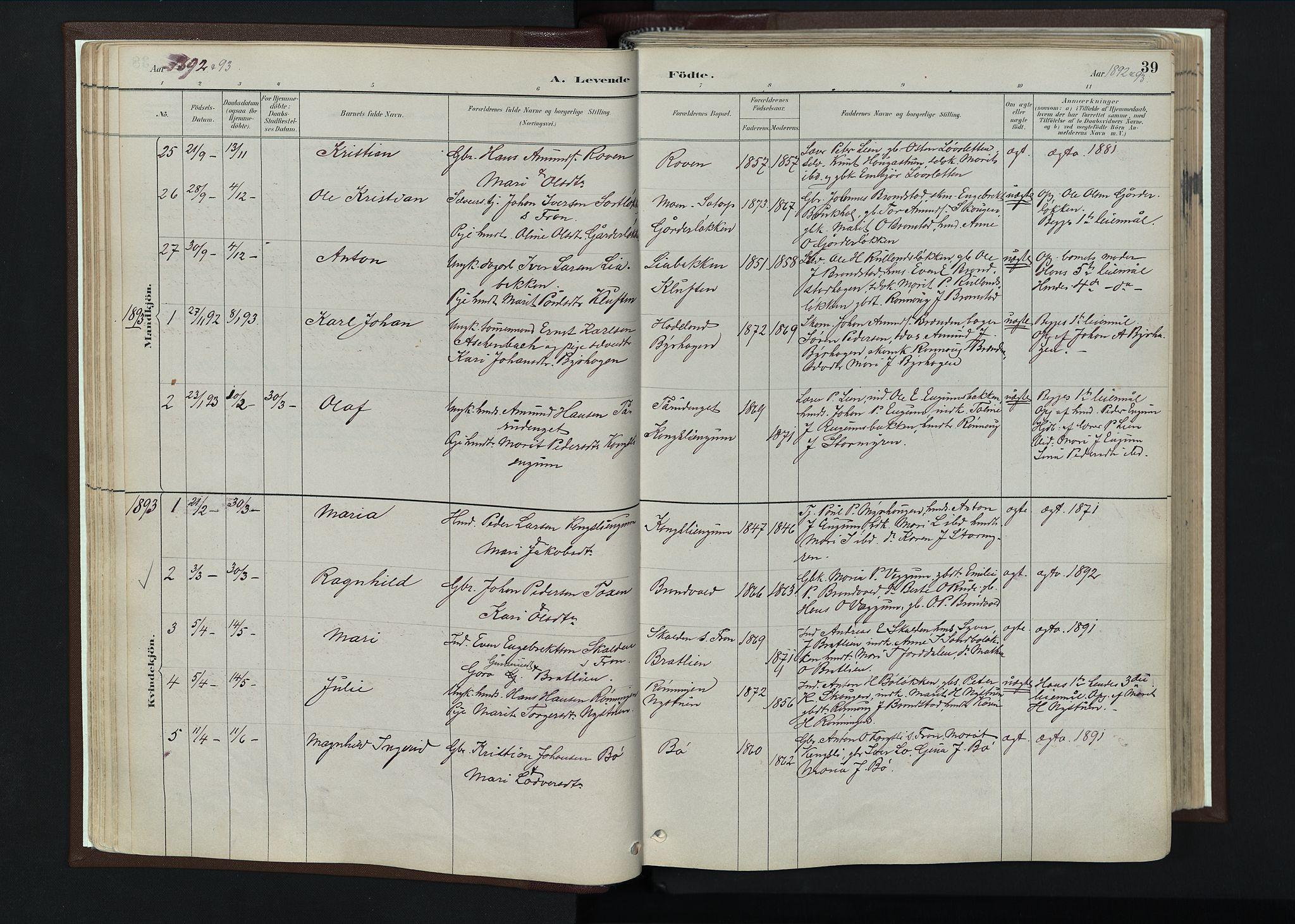 SAH, Nord-Fron prestekontor, Ministerialbok nr. 4, 1884-1914, s. 39