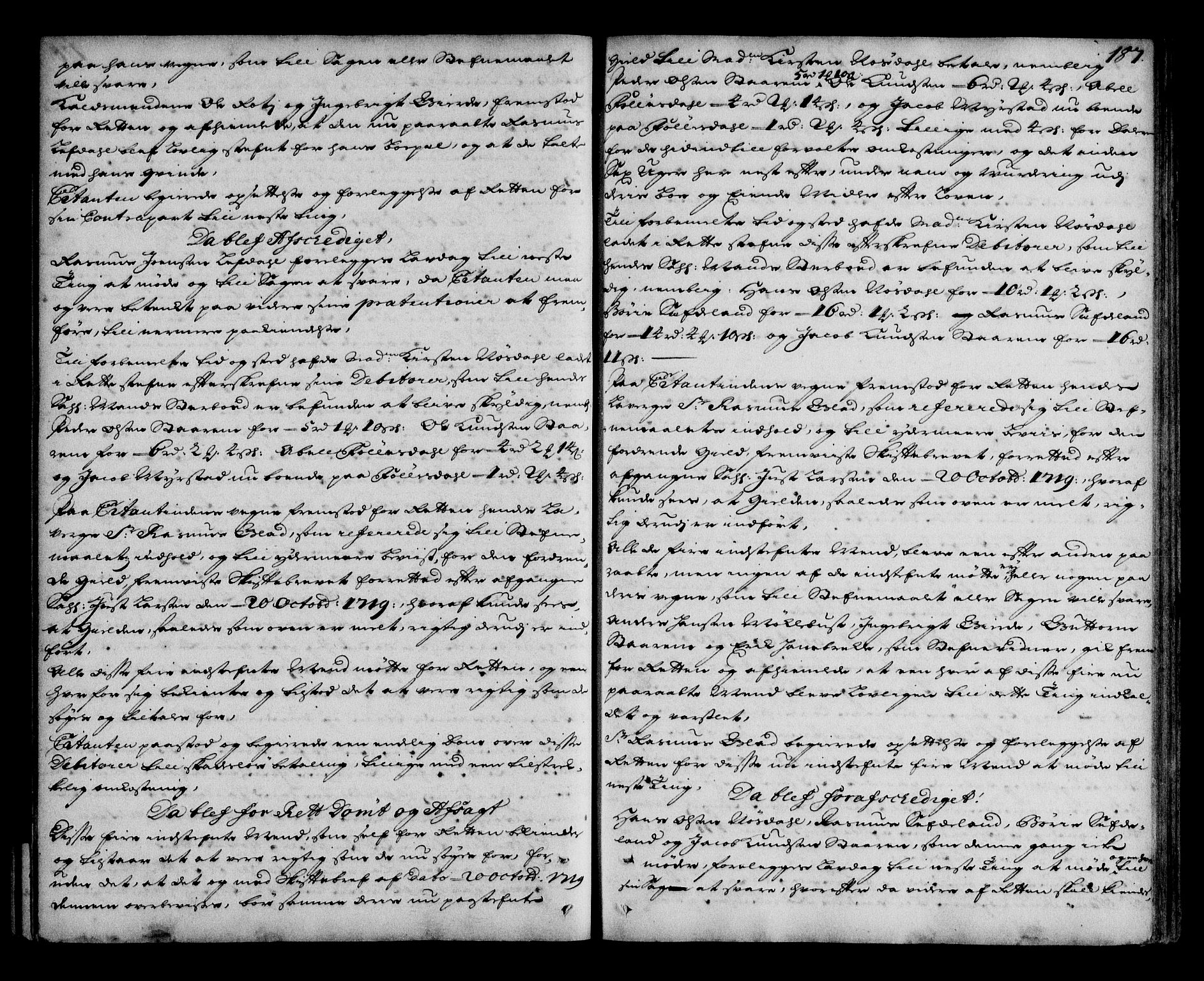 SAB, Nordfjord sorenskriveri, 01/01a/L0020: Tingbøker (justisprotokoller), 1718-1720, s. 186b-187a