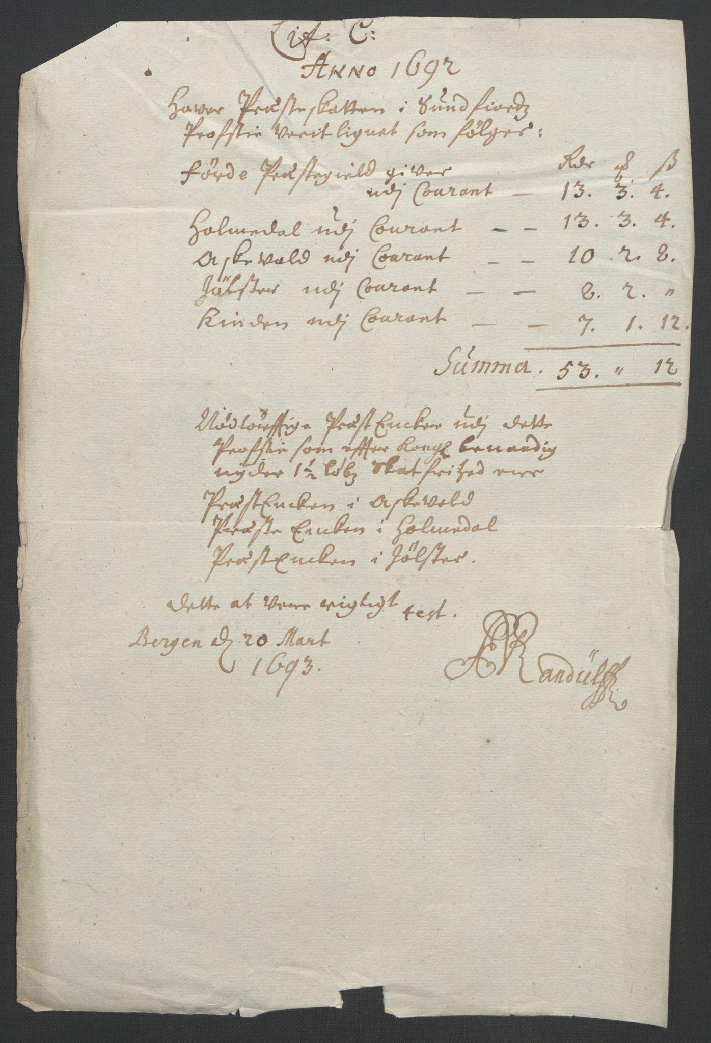 RA, Rentekammeret inntil 1814, Reviderte regnskaper, Fogderegnskap, R53/L3420: Fogderegnskap Sunn- og Nordfjord, 1691-1692, s. 206