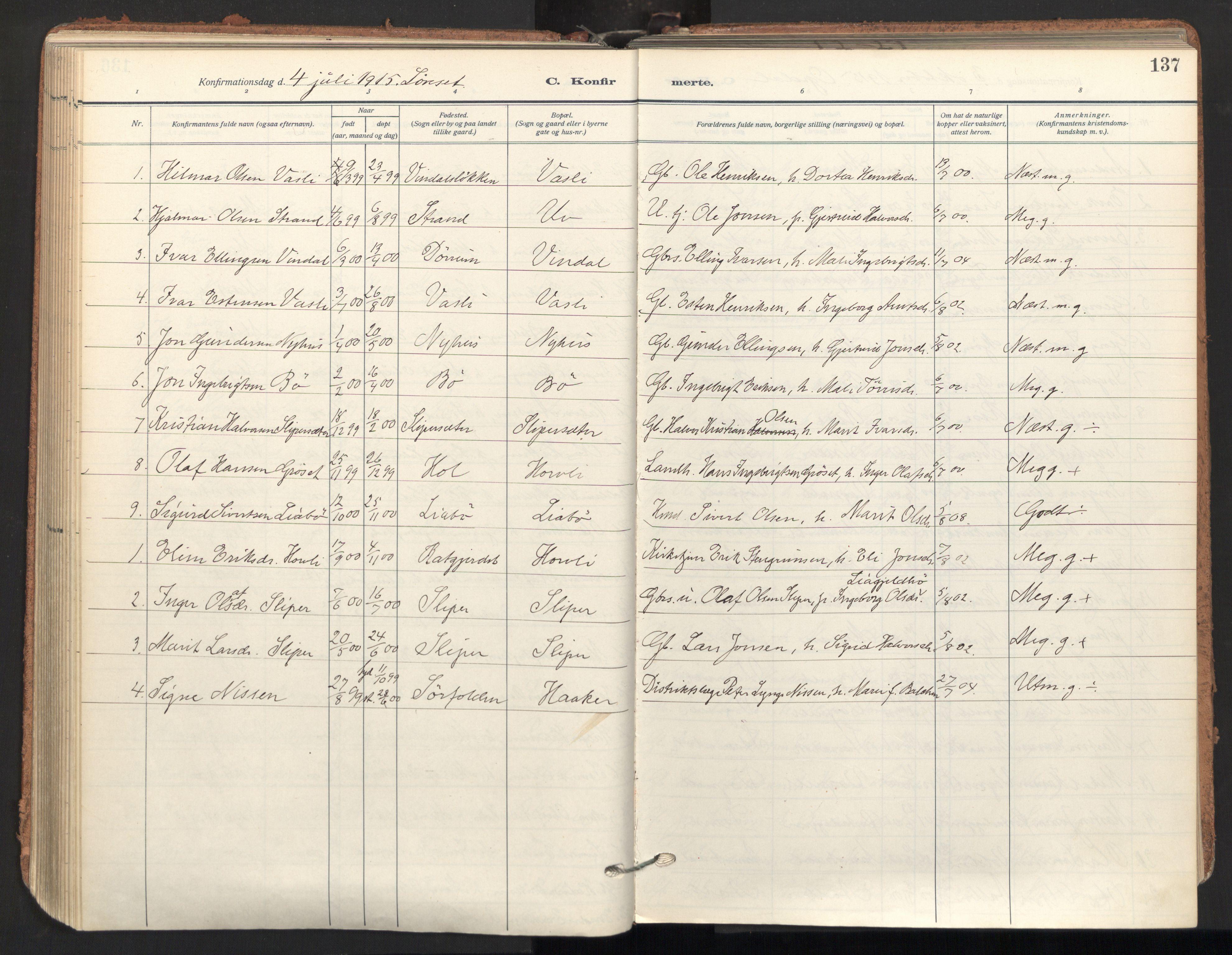 SAT, Ministerialprotokoller, klokkerbøker og fødselsregistre - Sør-Trøndelag, 678/L0909: Ministerialbok nr. 678A17, 1912-1930, s. 137