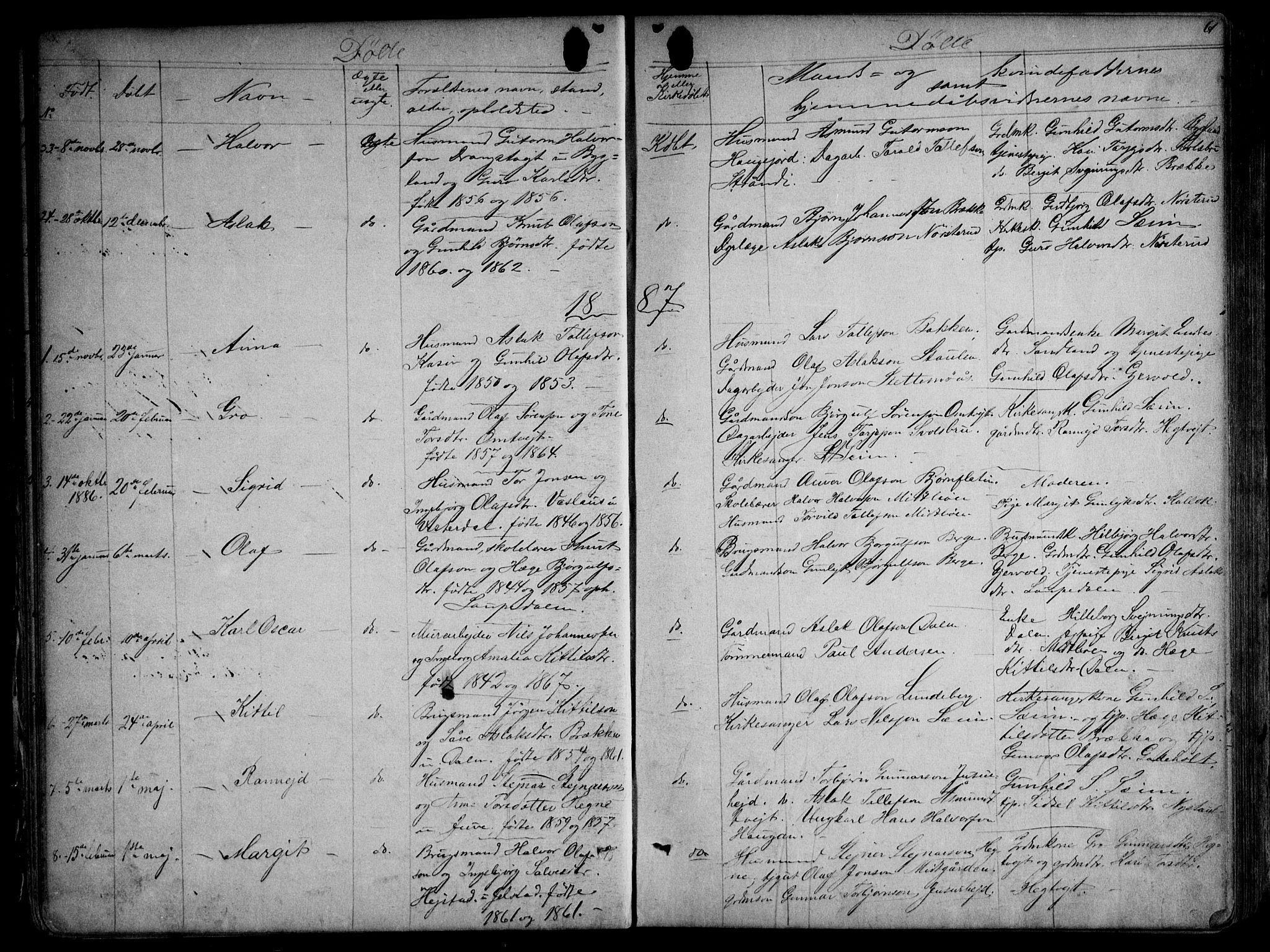 SAKO, Kviteseid kirkebøker, G/Gb/L0002: Klokkerbok nr. II 2, 1850-1892, s. 61