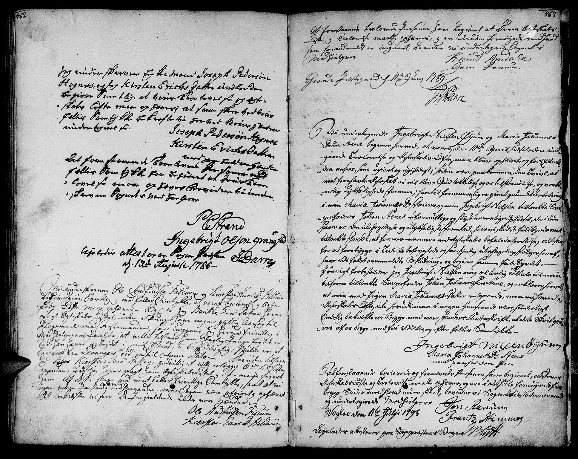 SAT, Ministerialprotokoller, klokkerbøker og fødselsregistre - Nord-Trøndelag, 764/L0544: Ministerialbok nr. 764A04, 1780-1798, s. 462-463