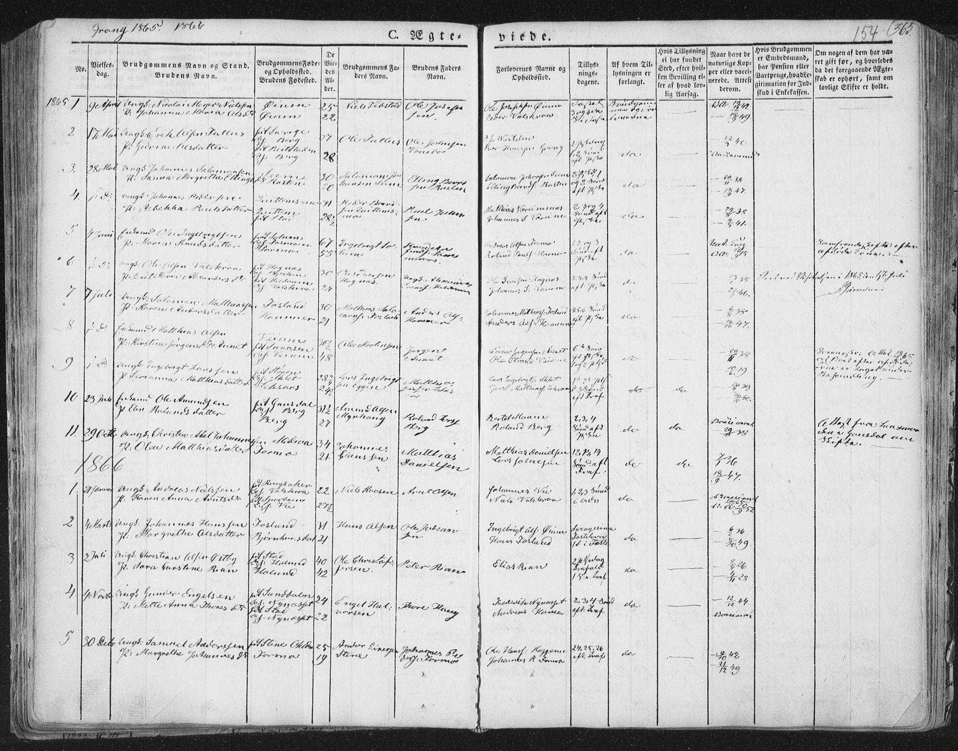 SAT, Ministerialprotokoller, klokkerbøker og fødselsregistre - Nord-Trøndelag, 758/L0513: Ministerialbok nr. 758A02 /1, 1839-1868, s. 154