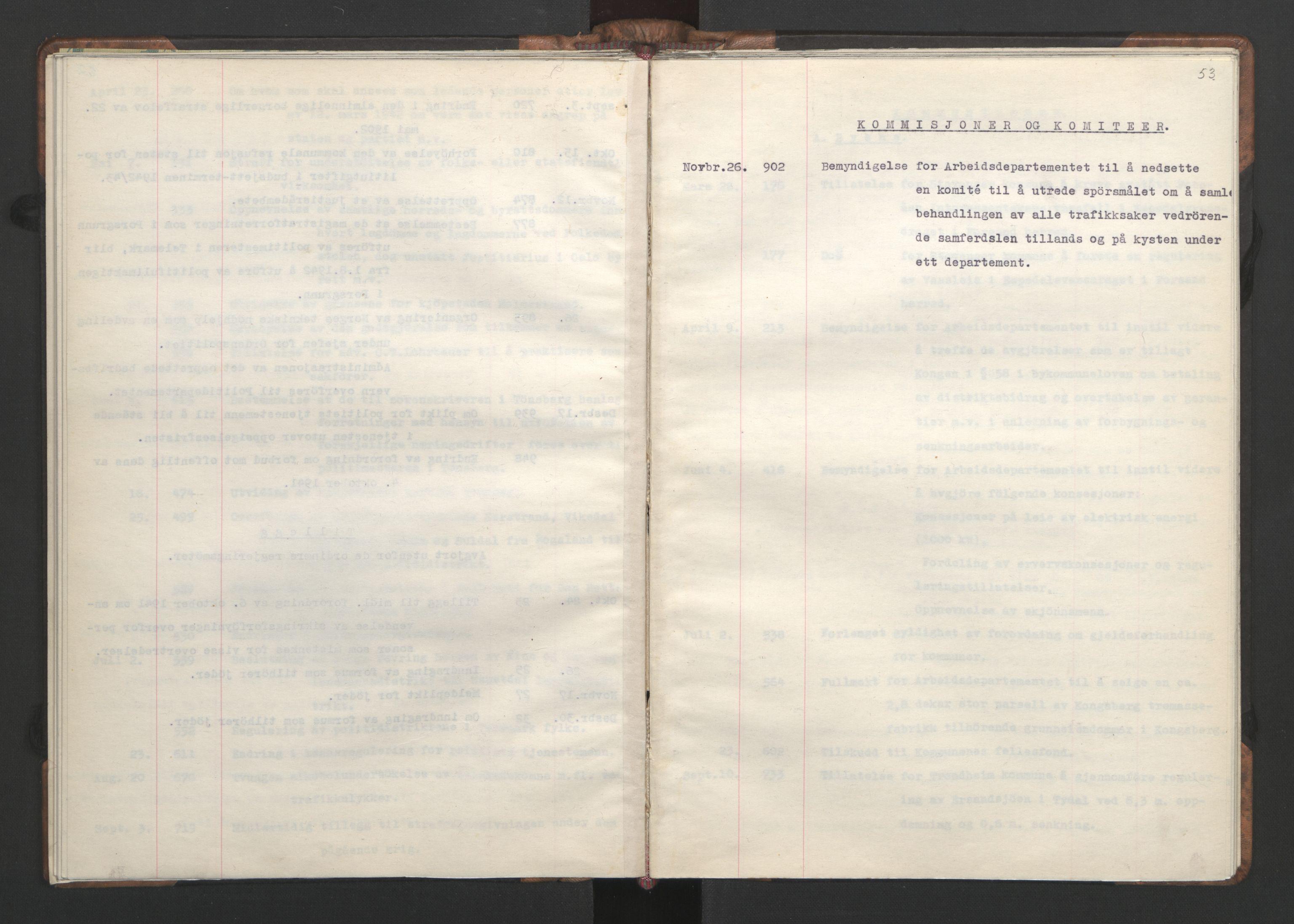 RA, NS-administrasjonen 1940-1945 (Statsrådsekretariatet, de kommisariske statsråder mm), D/Da/L0002: Register (RA j.nr. 985/1943, tilgangsnr. 17/1943), 1942, s. 52b-53a
