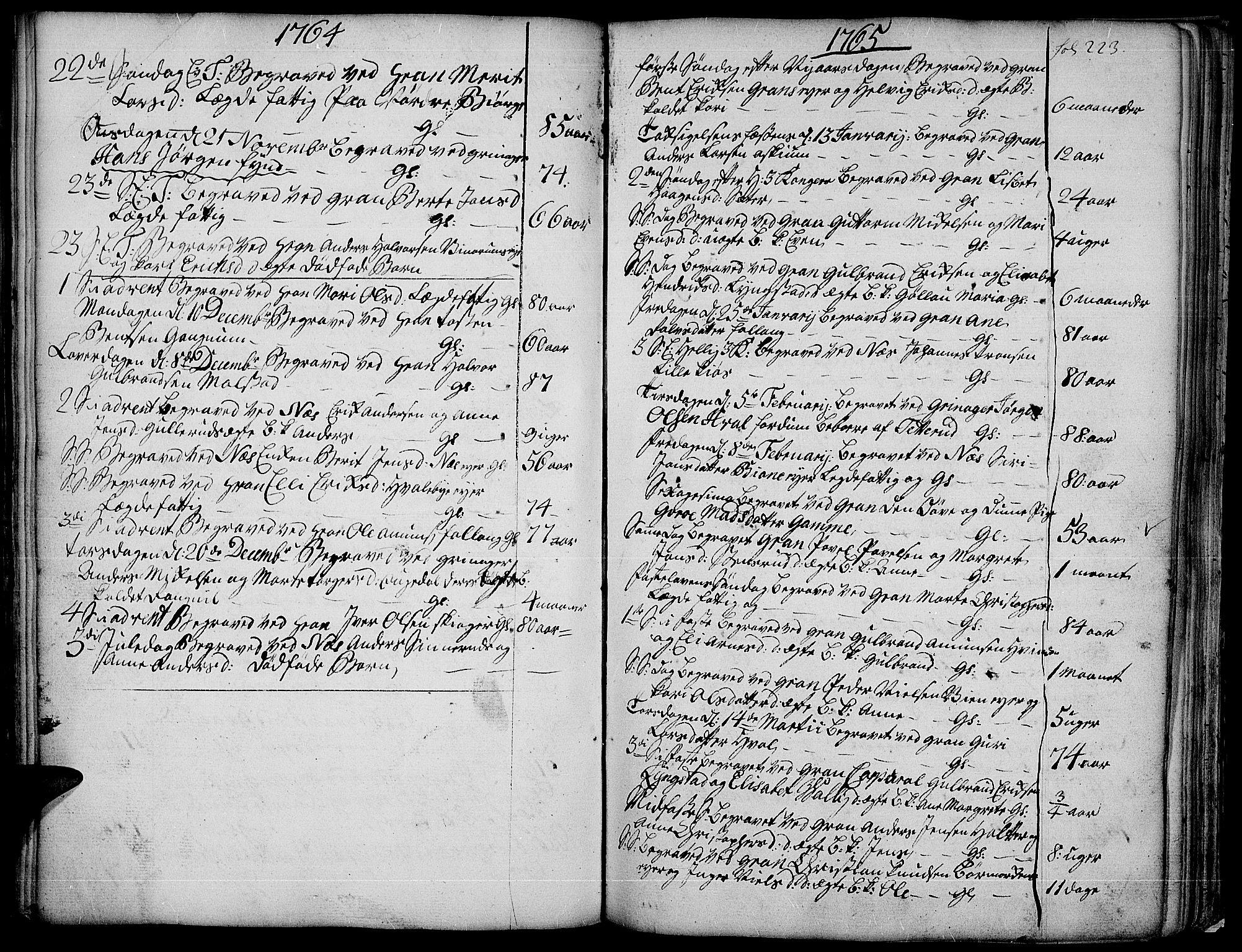 SAH, Gran prestekontor, Ministerialbok nr. 4, 1759-1775, s. 223