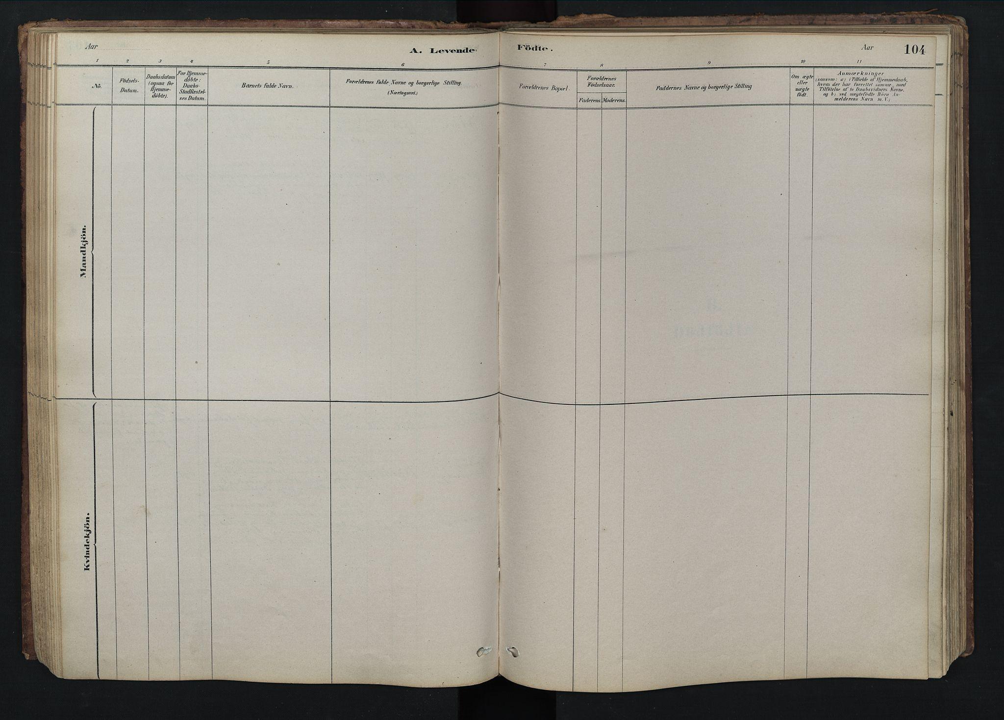 SAH, Rendalen prestekontor, H/Ha/Hab/L0009: Klokkerbok nr. 9, 1879-1902, s. 104