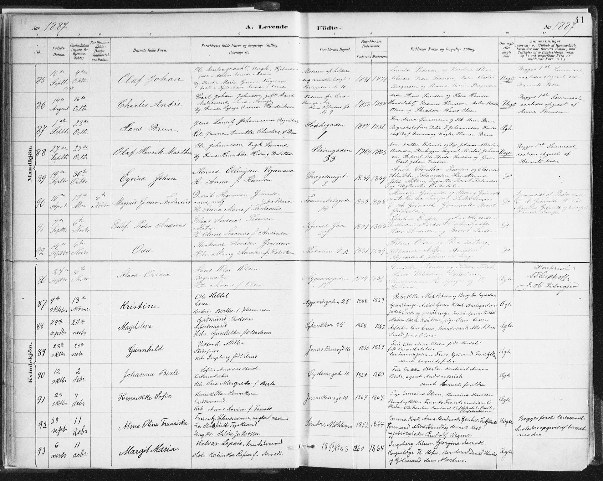 SAB, Johanneskirken Sokneprestembete, H/Haa/L0001: Ministerialbok nr. A 1, 1885-1900, s. 41