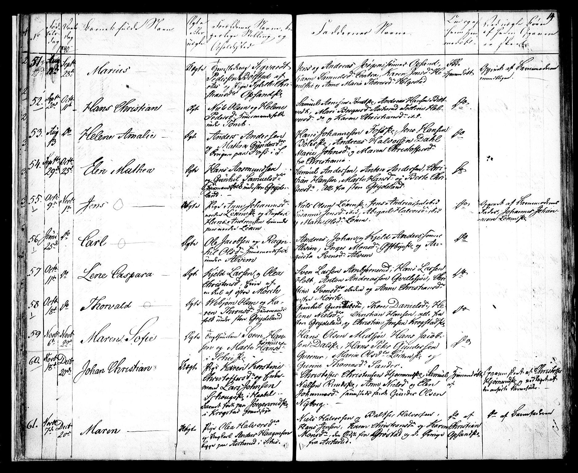SAO, Kråkstad prestekontor Kirkebøker, F/Fa/L0005: Ministerialbok nr. I 5, 1837-1847, s. 14