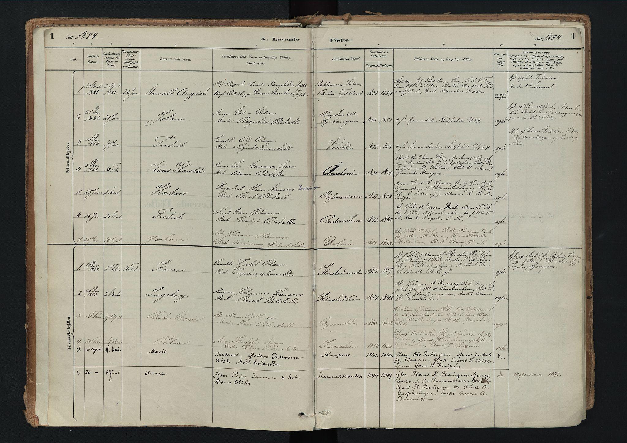 SAH, Nord-Fron prestekontor, Ministerialbok nr. 3, 1884-1914, s. 1