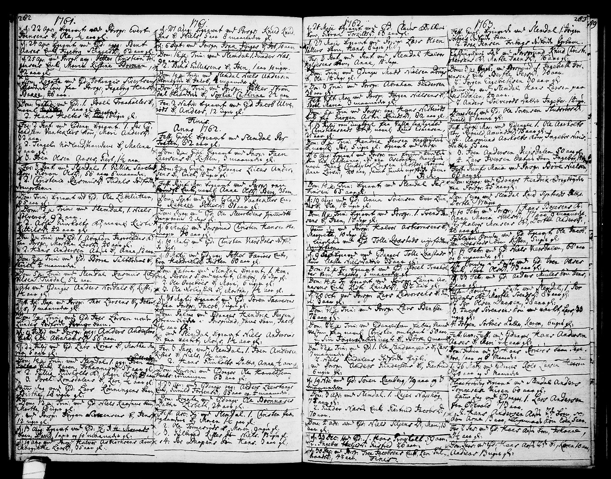 SAKO, Eidanger kirkebøker, F/Fa/L0005: Ministerialbok nr. 5, 1760-1764, s. 282-283
