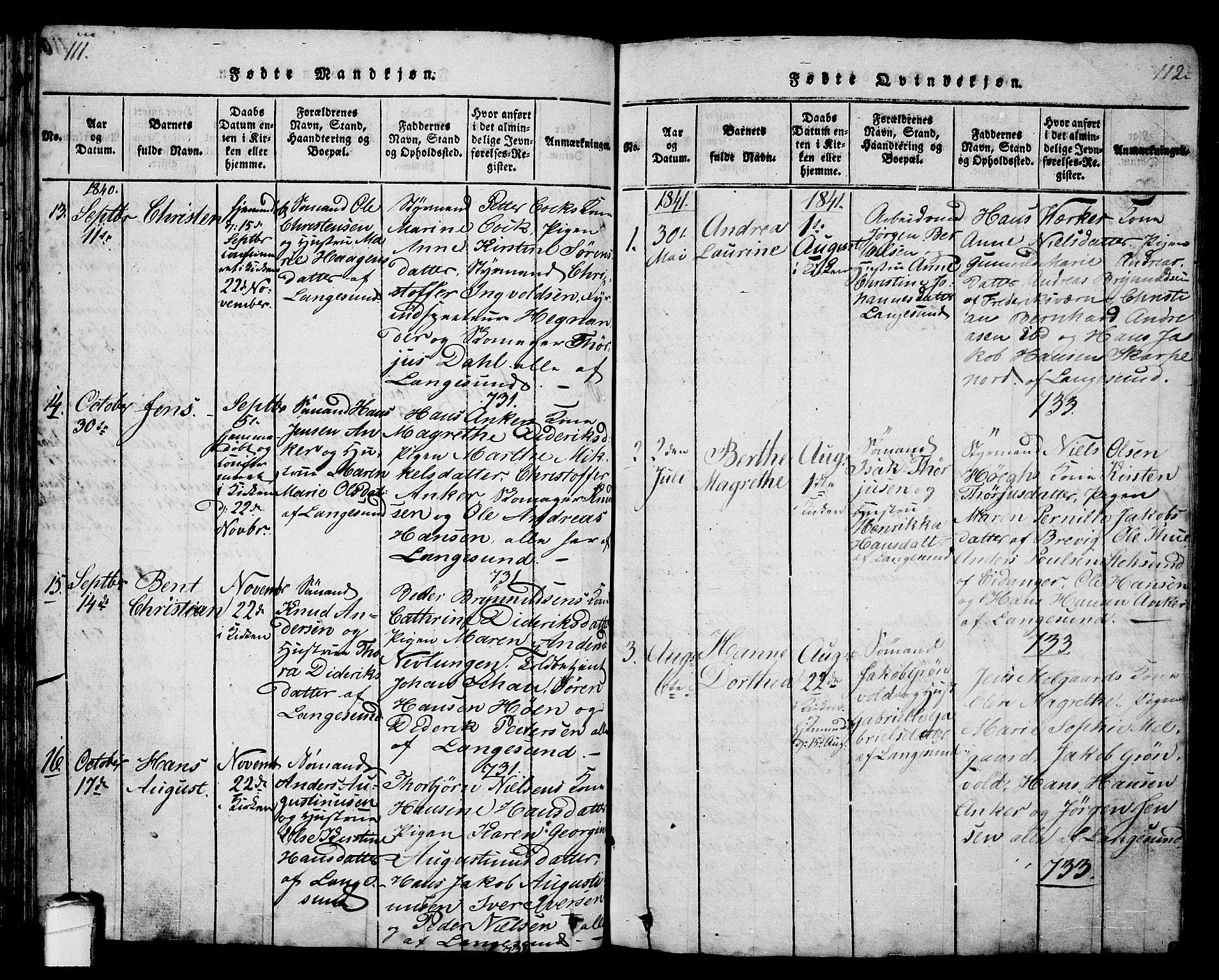 SAKO, Langesund kirkebøker, G/Ga/L0003: Klokkerbok nr. 3, 1815-1858, s. 111-112