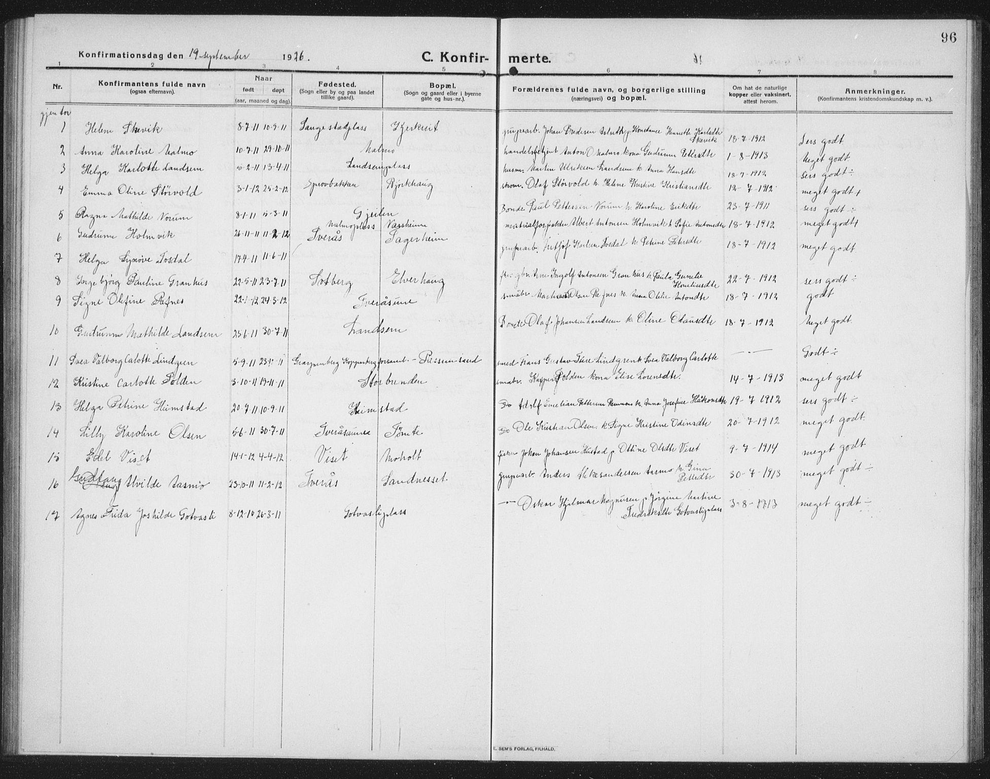 SAT, Ministerialprotokoller, klokkerbøker og fødselsregistre - Nord-Trøndelag, 745/L0434: Klokkerbok nr. 745C03, 1914-1937, s. 96