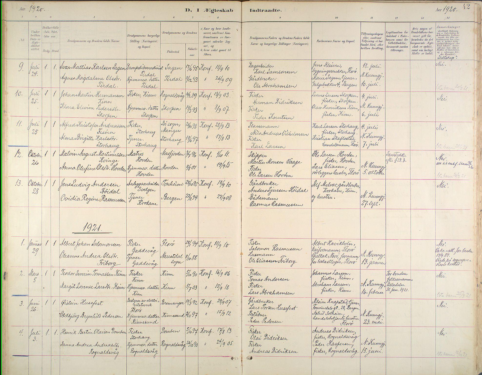 Kinn Sokneprestembete, Ministerialbok nr. B 3, 1886-1936, s. 42