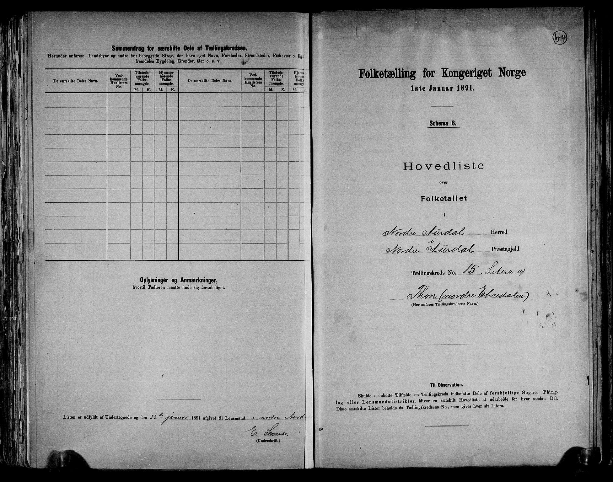 RA, Folketelling 1891 for 0542 Nord-Aurdal herred, 1891, s. 39