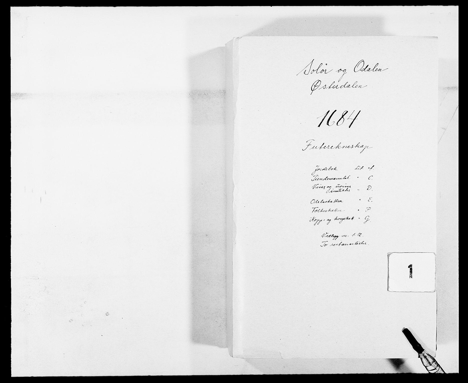 RA, Rentekammeret inntil 1814, Reviderte regnskaper, Fogderegnskap, R13/L0821: Fogderegnskap Solør, Odal og Østerdal, 1684, s. 1