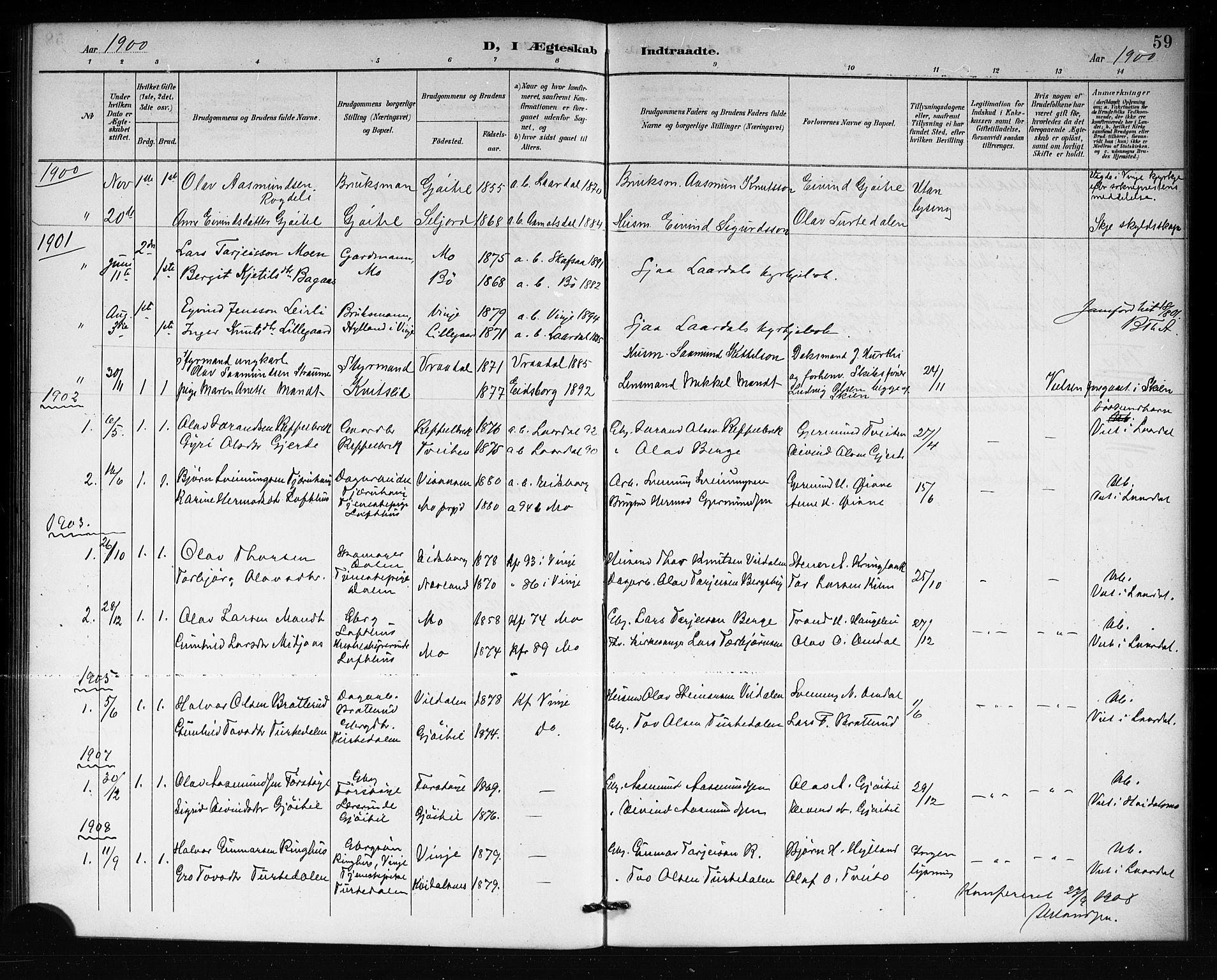 SAKO, Lårdal kirkebøker, G/Gb/L0003: Klokkerbok nr. II 3, 1889-1920, s. 59