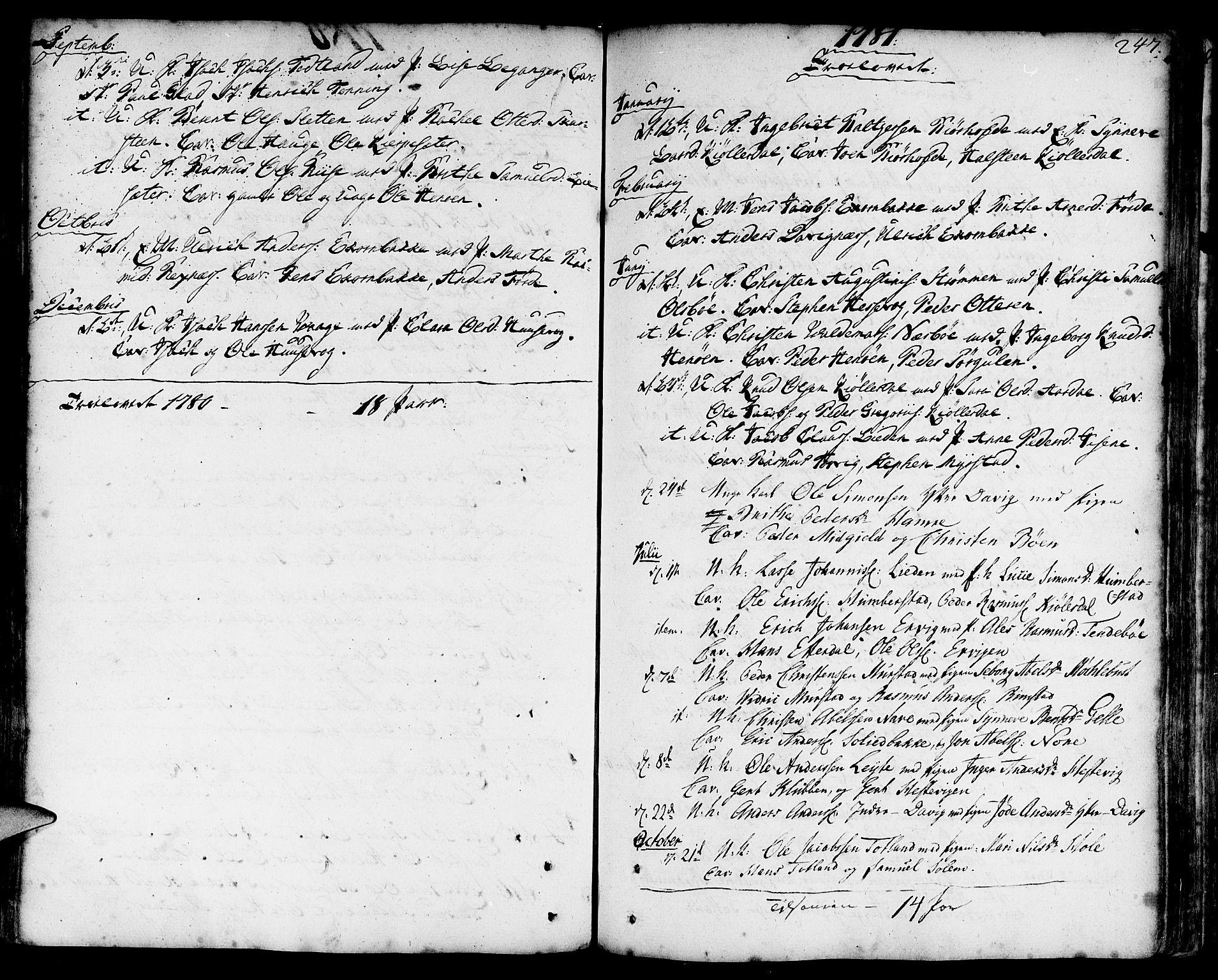 SAB, Davik Sokneprestembete, Ministerialbok nr. A 2, 1742-1816, s. 247