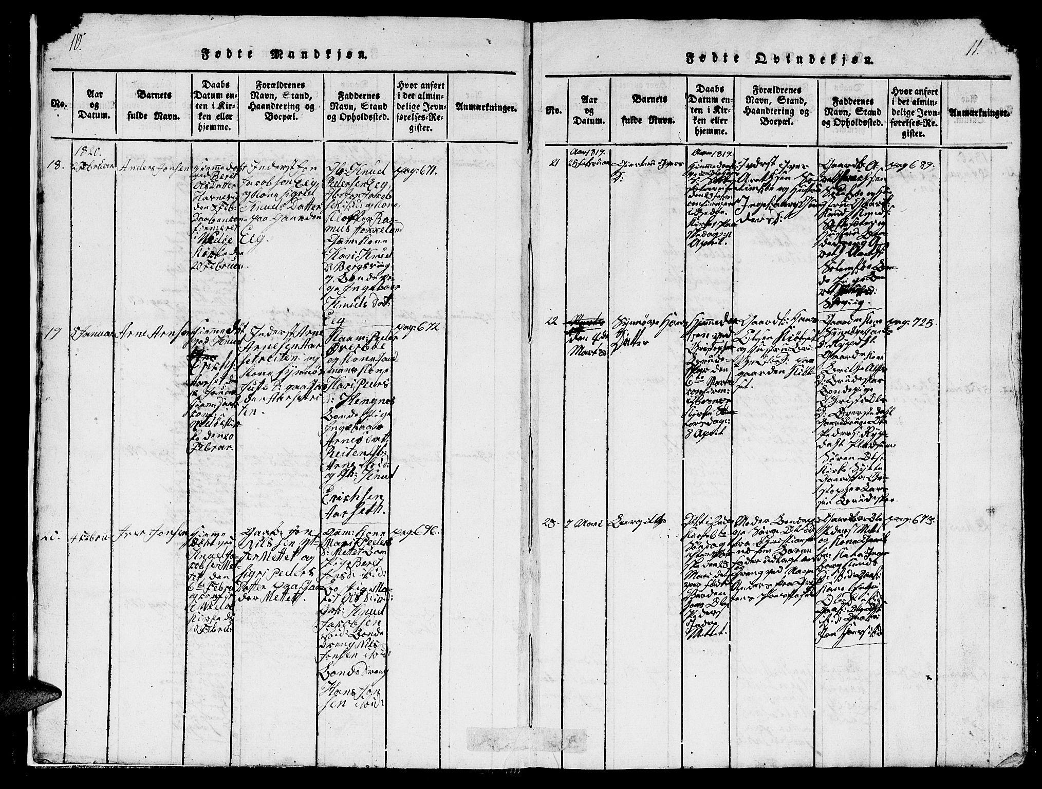 SAT, Ministerialprotokoller, klokkerbøker og fødselsregistre - Møre og Romsdal, 547/L0610: Klokkerbok nr. 547C01, 1818-1839, s. 10-11