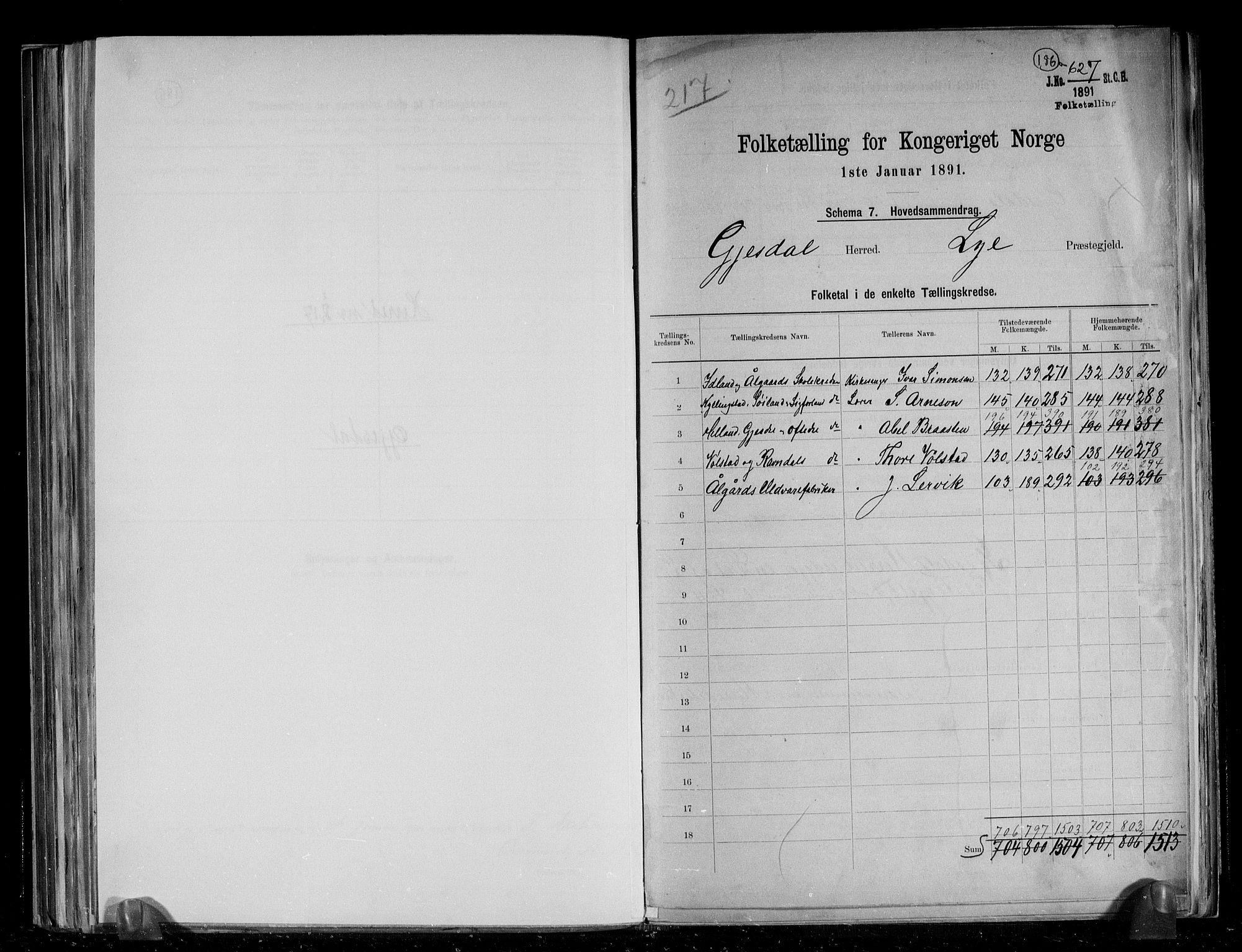 RA, Folketelling 1891 for 1122 Gjesdal herred, 1891, s. 2