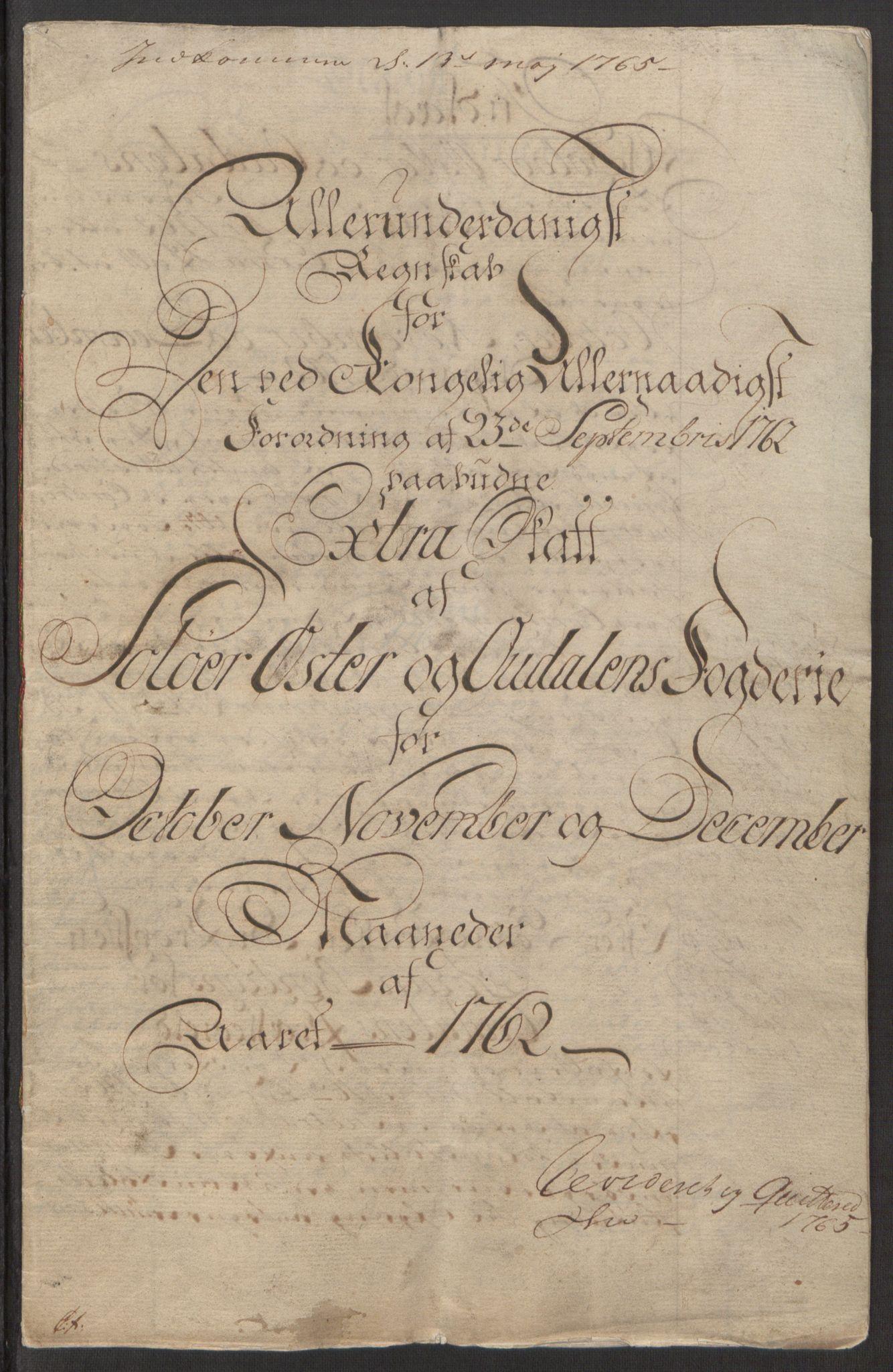 RA, Rentekammeret inntil 1814, Reviderte regnskaper, Fogderegnskap, R15/L1014: Ekstraskatten Østerdal, 1762-1764, s. 5