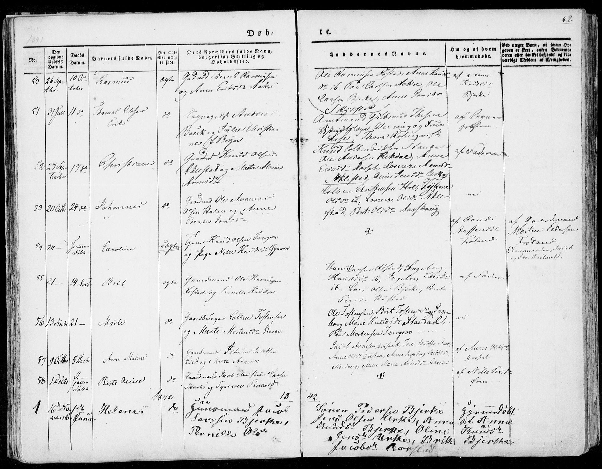SAT, Ministerialprotokoller, klokkerbøker og fødselsregistre - Møre og Romsdal, 515/L0208: Ministerialbok nr. 515A04, 1830-1846, s. 62