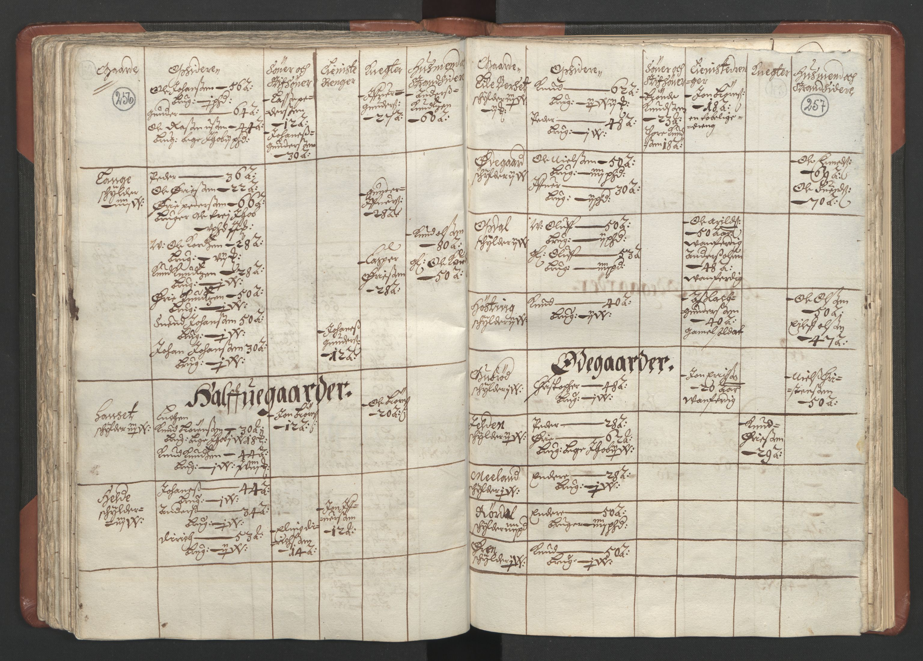 RA, Fogdenes og sorenskrivernes manntall 1664-1666, nr. 16: Romsdal fogderi og Sunnmøre fogderi, 1664-1665, s. 256-257
