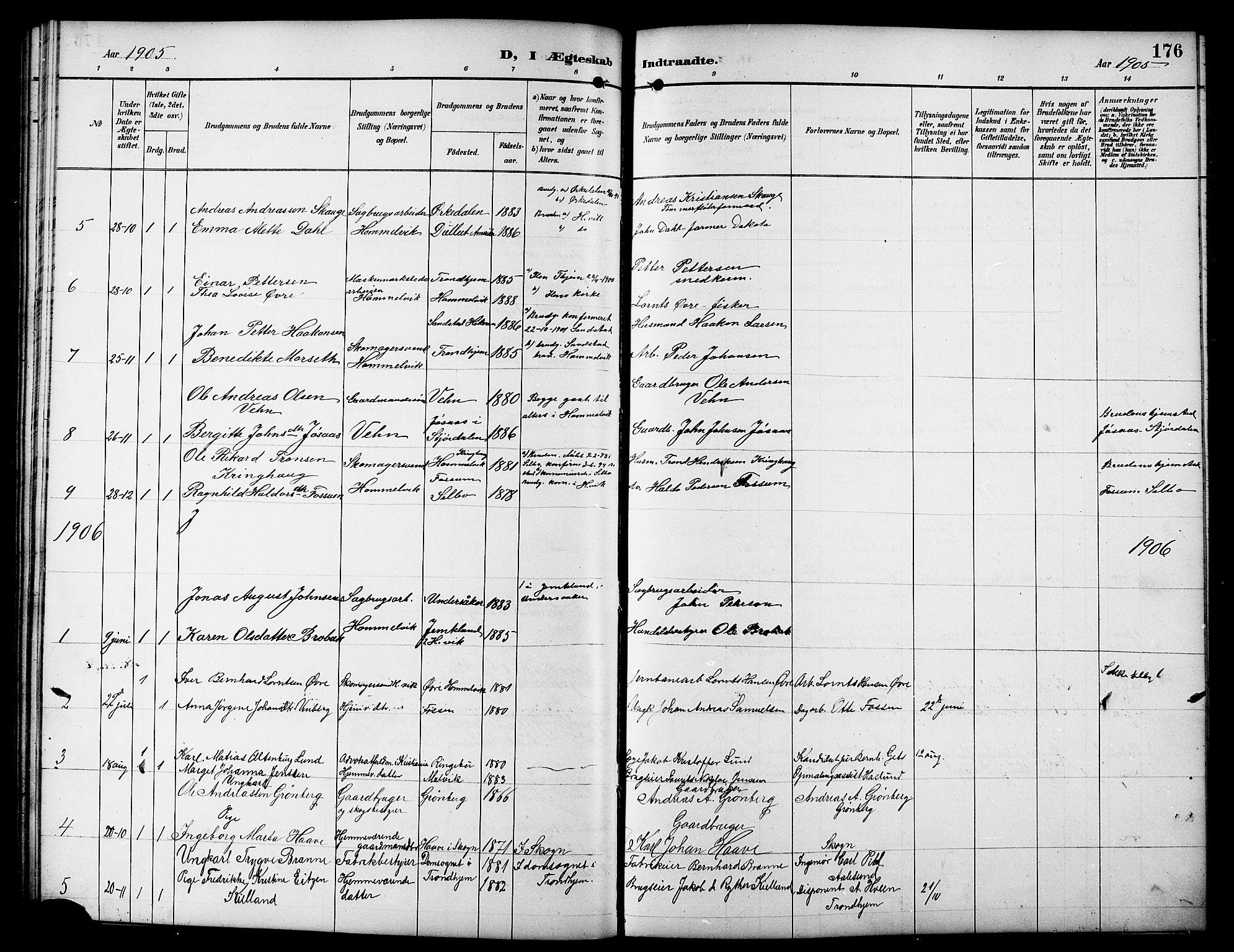 SAT, Ministerialprotokoller, klokkerbøker og fødselsregistre - Sør-Trøndelag, 617/L0431: Klokkerbok nr. 617C01, 1889-1910, s. 176
