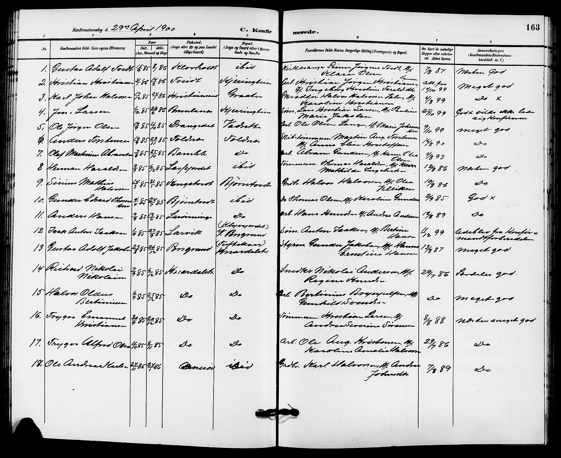 SAKO, Solum kirkebøker, G/Ga/L0008: Klokkerbok nr. I 8, 1898-1909, s. 163