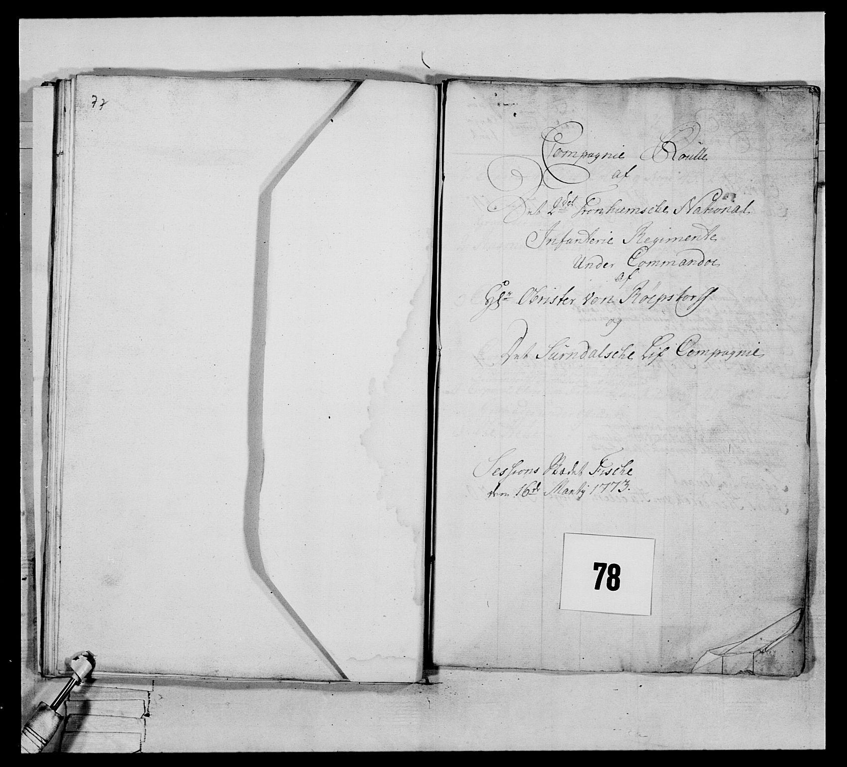 RA, Generalitets- og kommissariatskollegiet, Det kongelige norske kommissariatskollegium, E/Eh/L0076: 2. Trondheimske nasjonale infanteriregiment, 1766-1773, s. 393